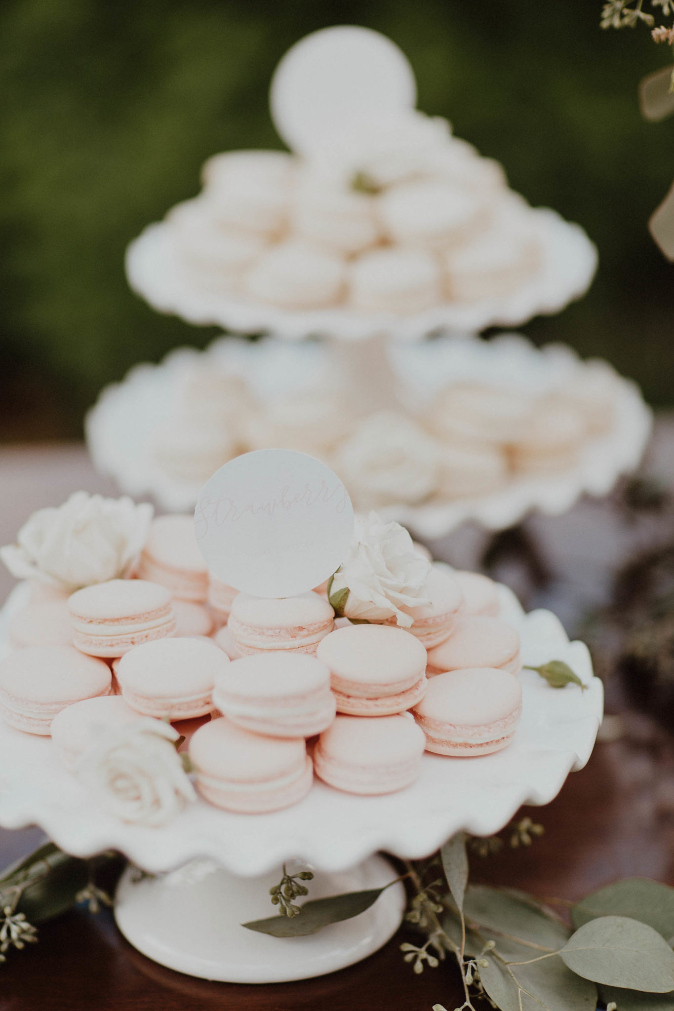 Dessert table blush and white french macarons for wedding on north shore kauai hawaiii