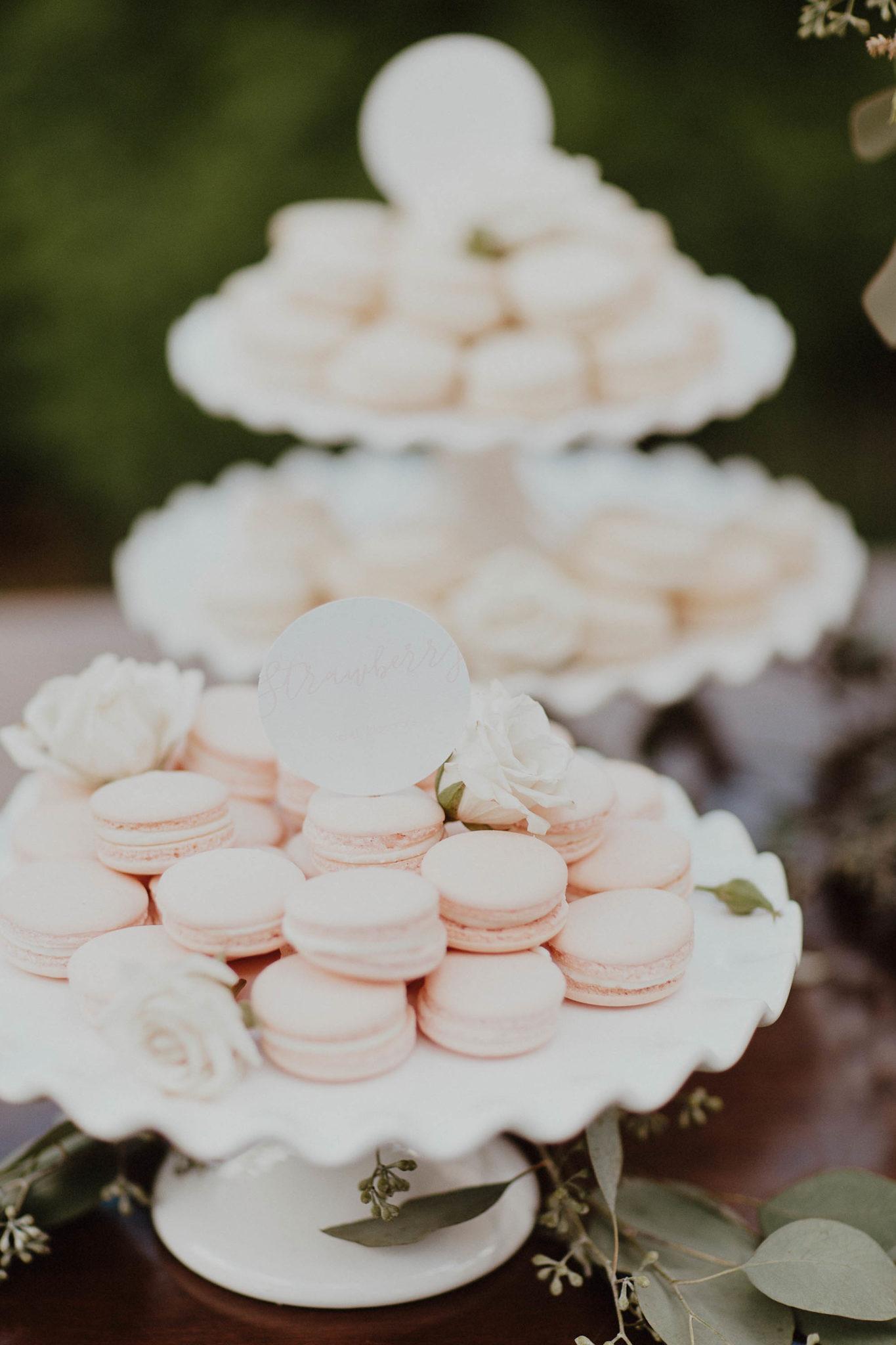Dessert table blush and white french macarons for wedding on north shore kauai hawaiii