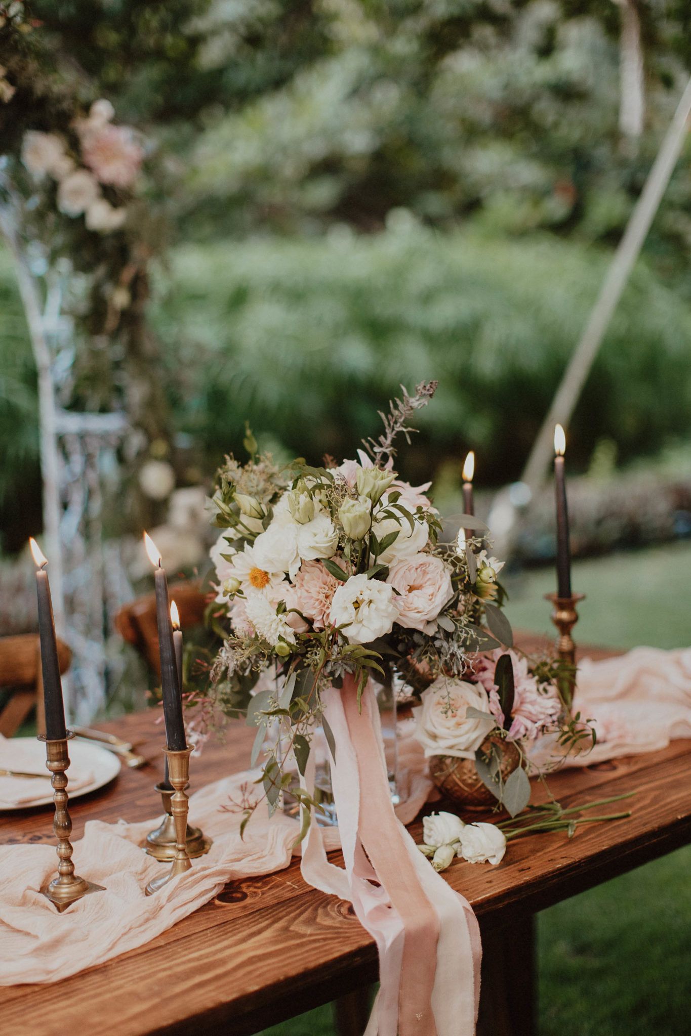 Blush and gold accents bride and groom table for reception tropical hawaii wedding