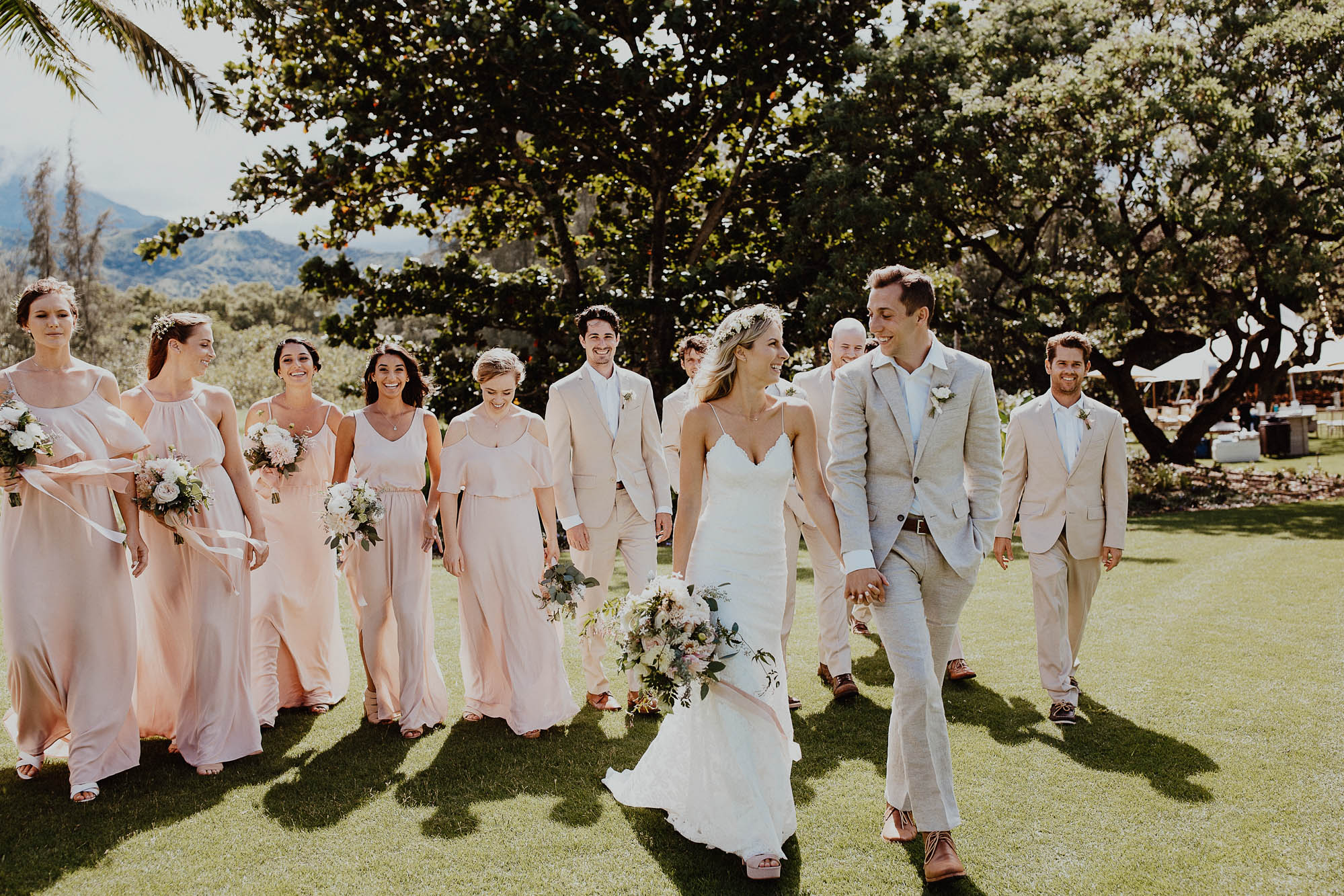 Walking with our wedding party north shore kauai hawaii wedding day