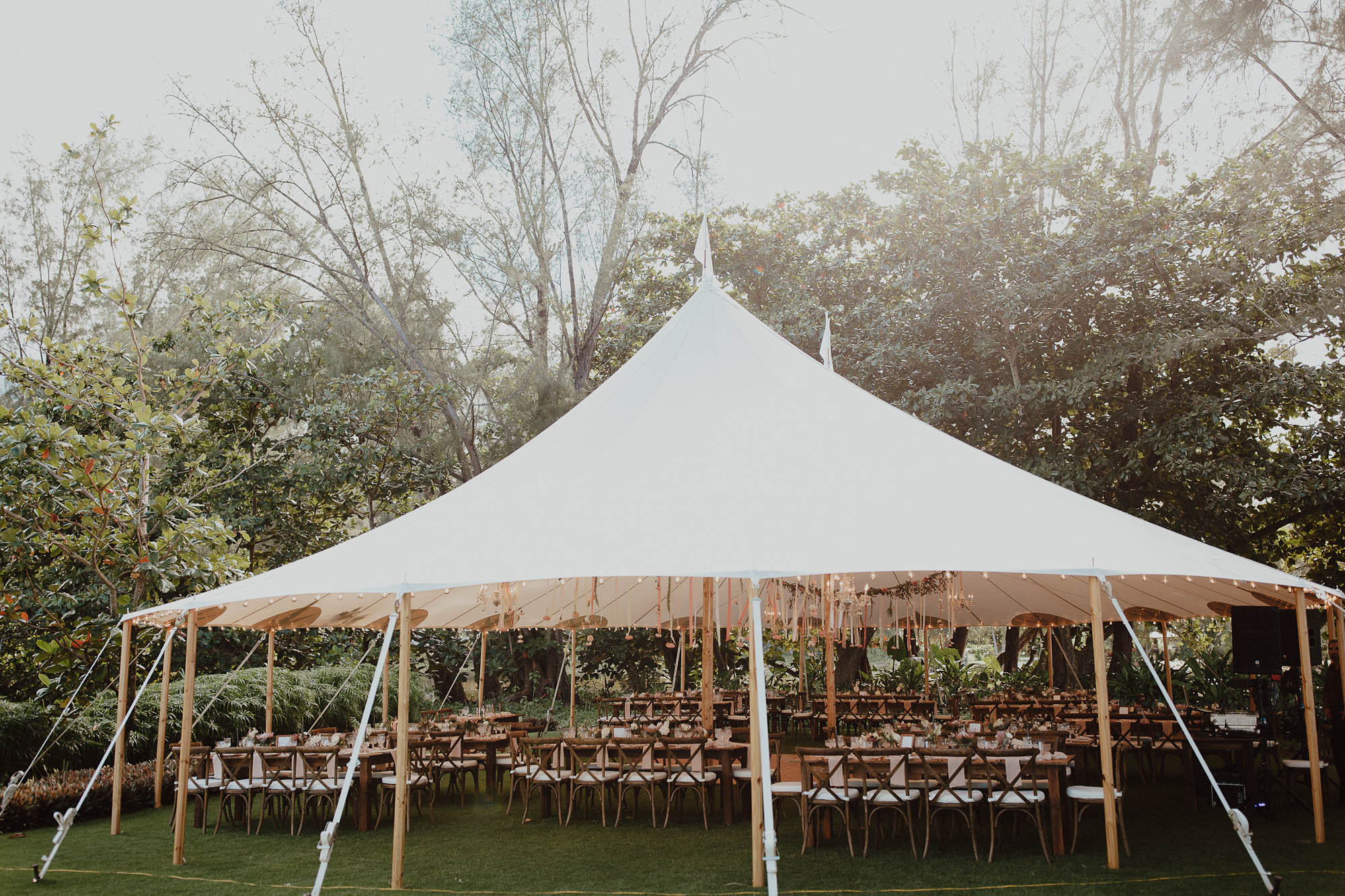White tent backyard wedding kauai hawaii