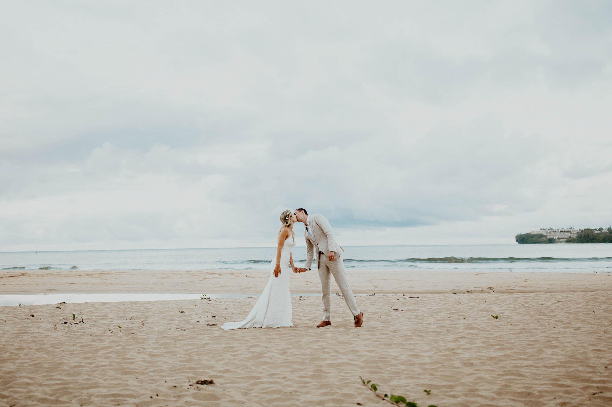 Wedding photos on hanalei bay beach north shore kauai hawaii