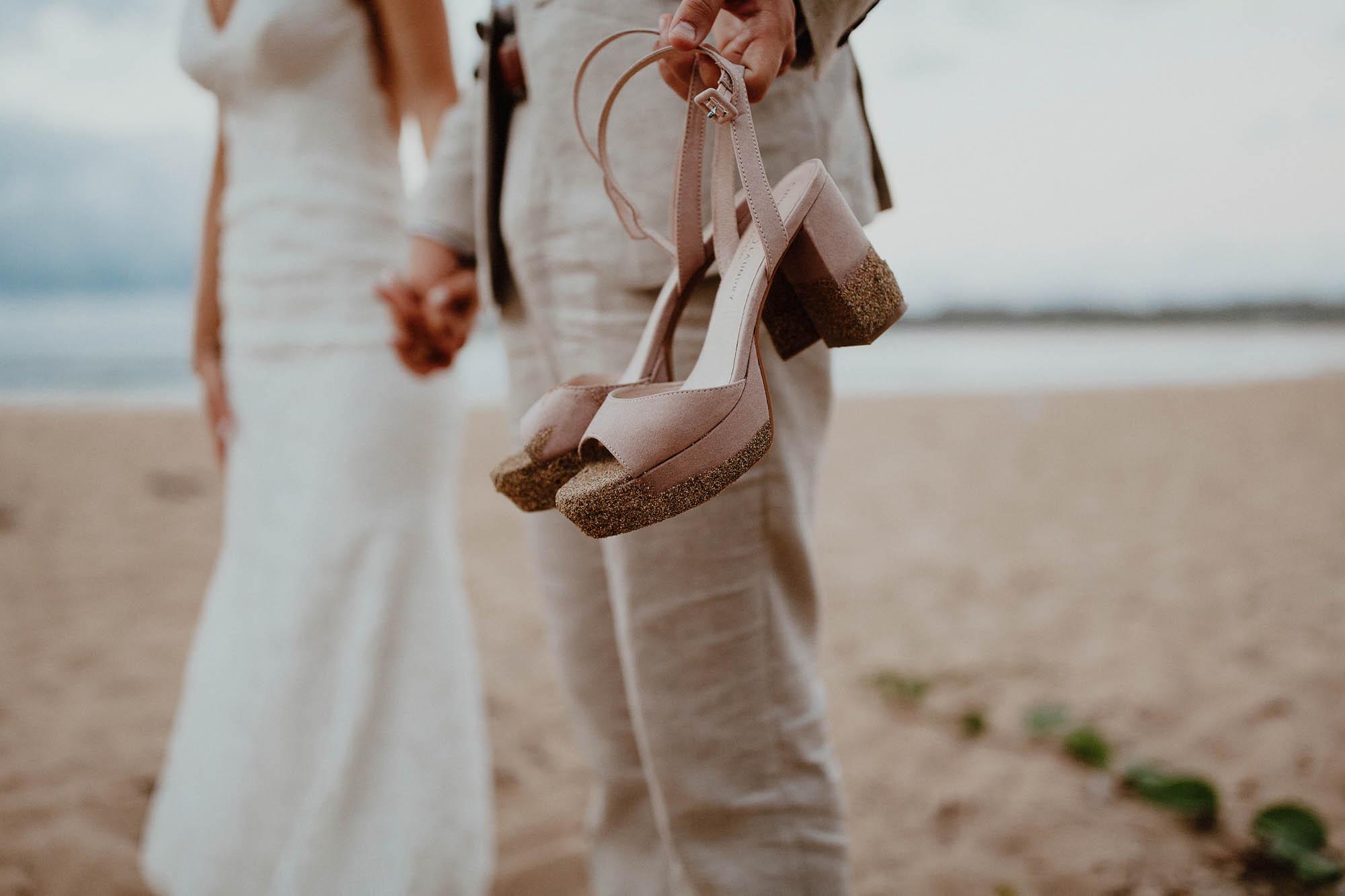 Blush wedding shoes on the beach hanalei bay wedding day kauai hawaii