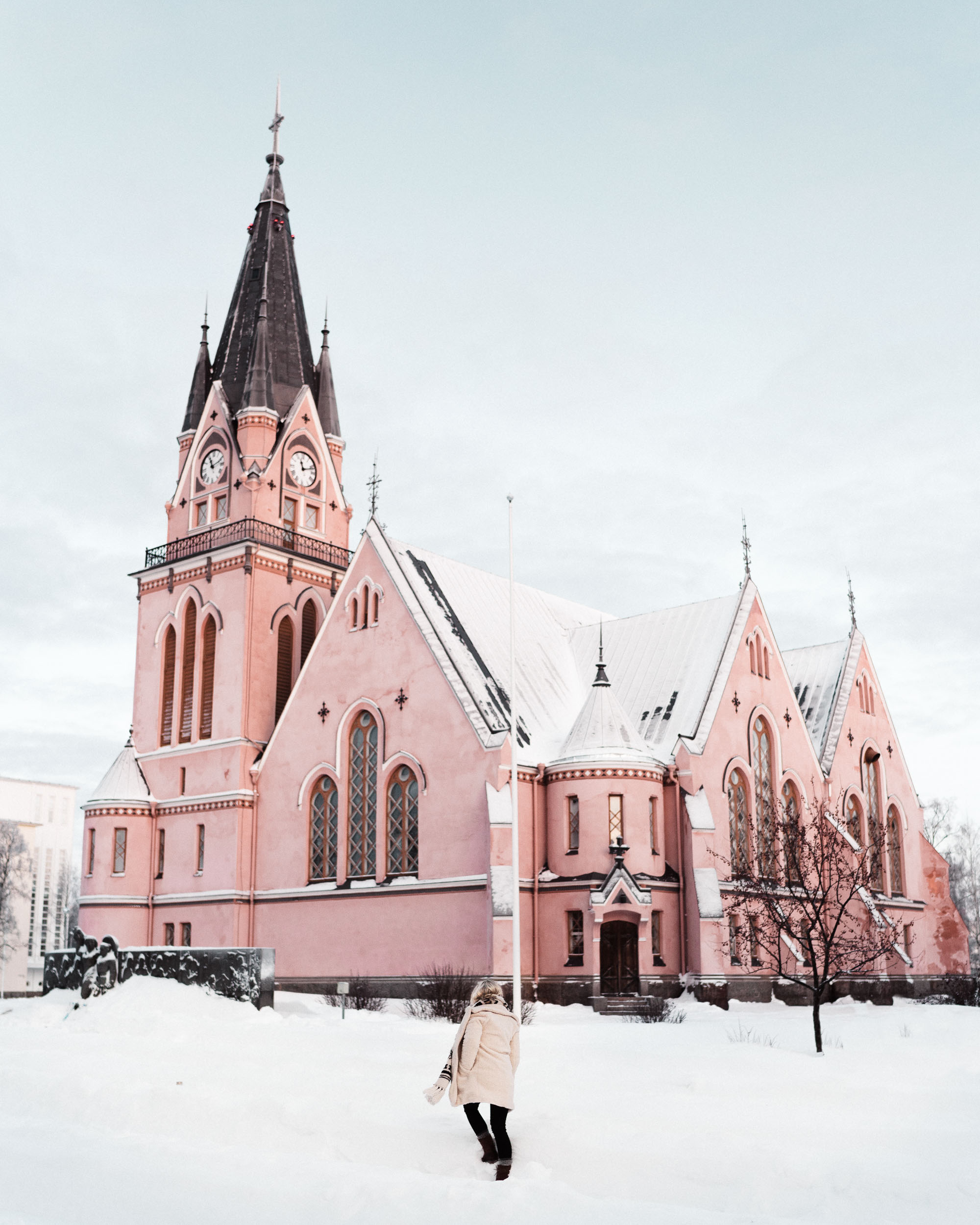 Pink church in kemi lapland finland