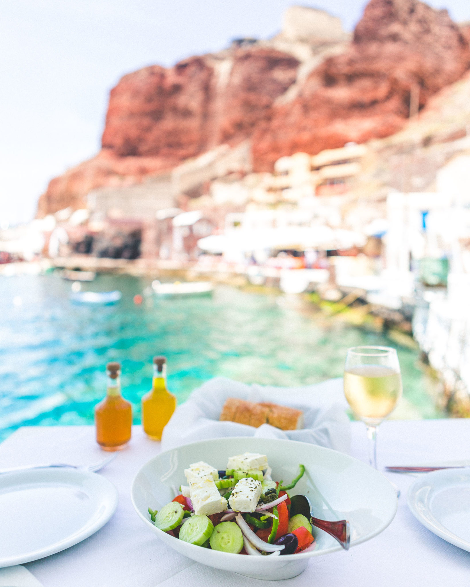 Lunch in Ammoudi Bay, Santorini, Greece