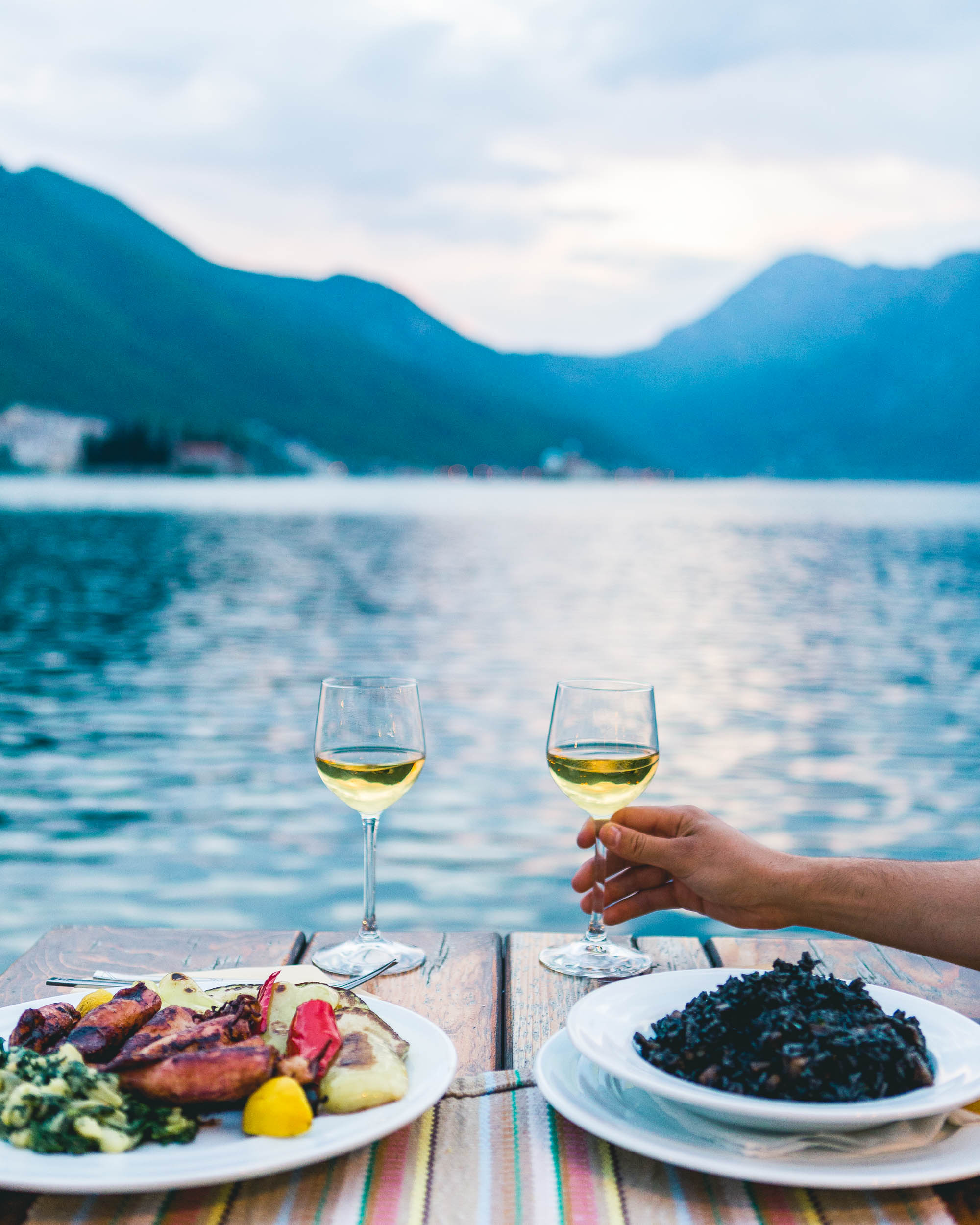 Sunset dinner in kotor bay, montenegro