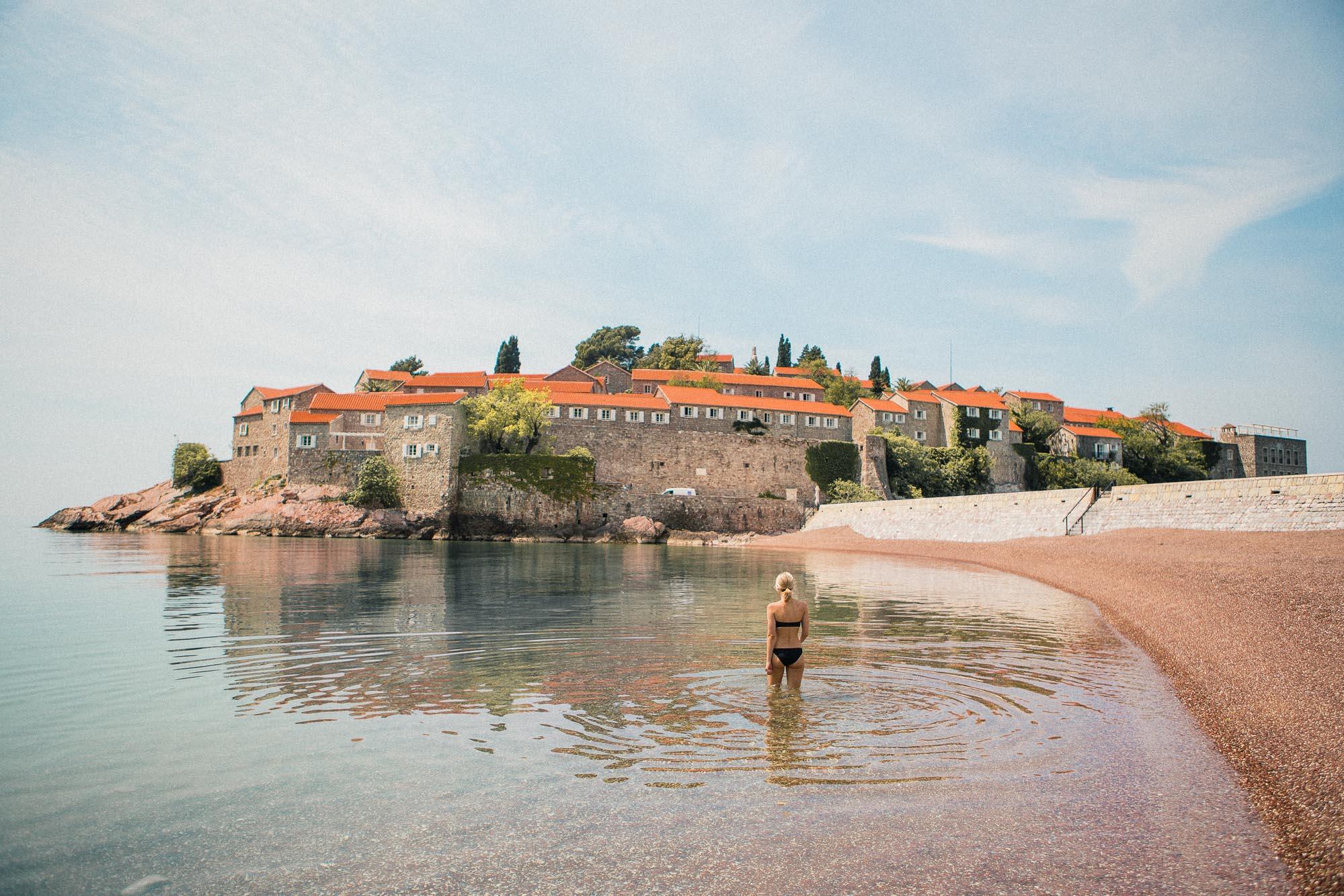 Sveti Stefan Beach in Budva, Montenegro