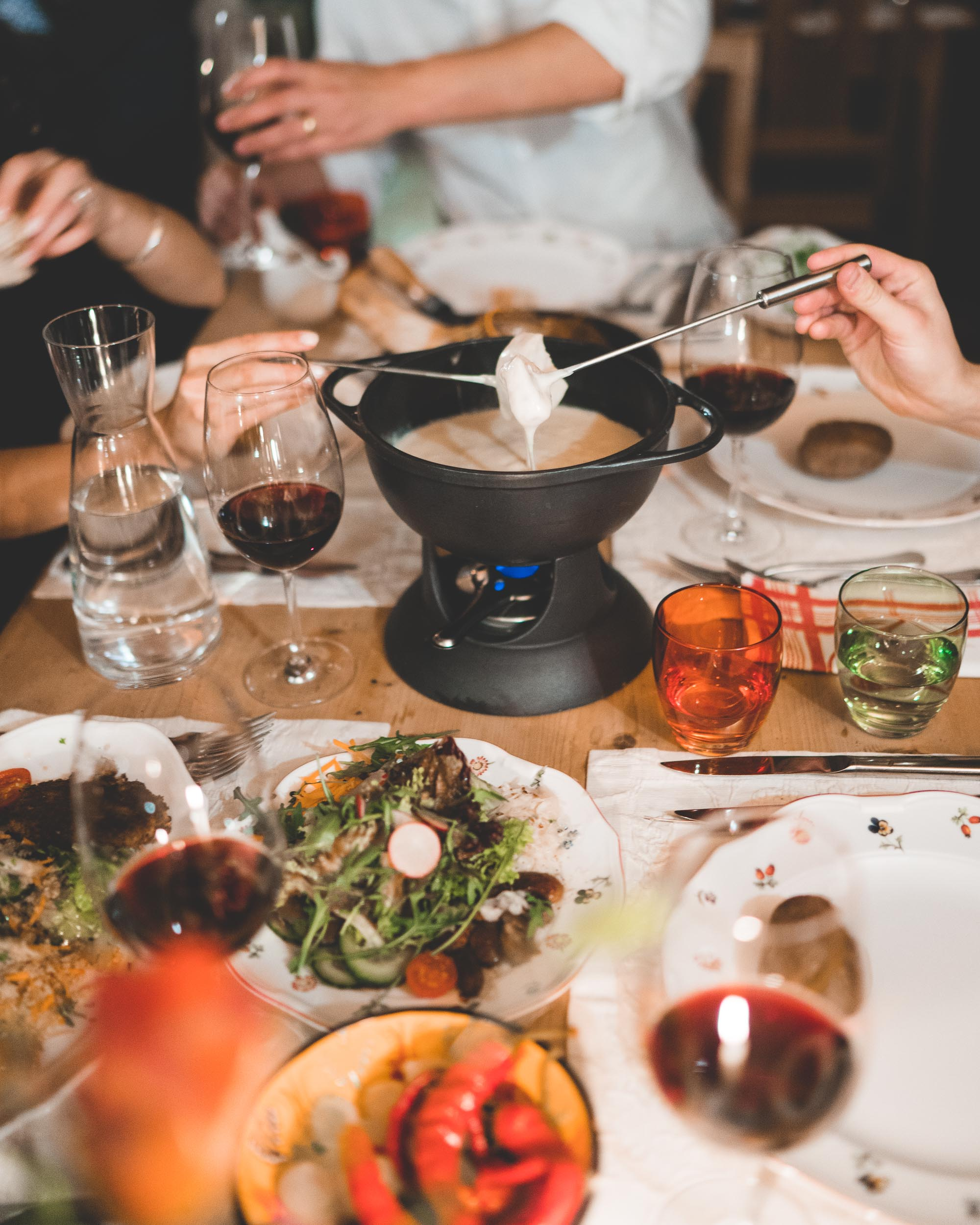Traditional cheese fondue in Lech Austria Restaurant