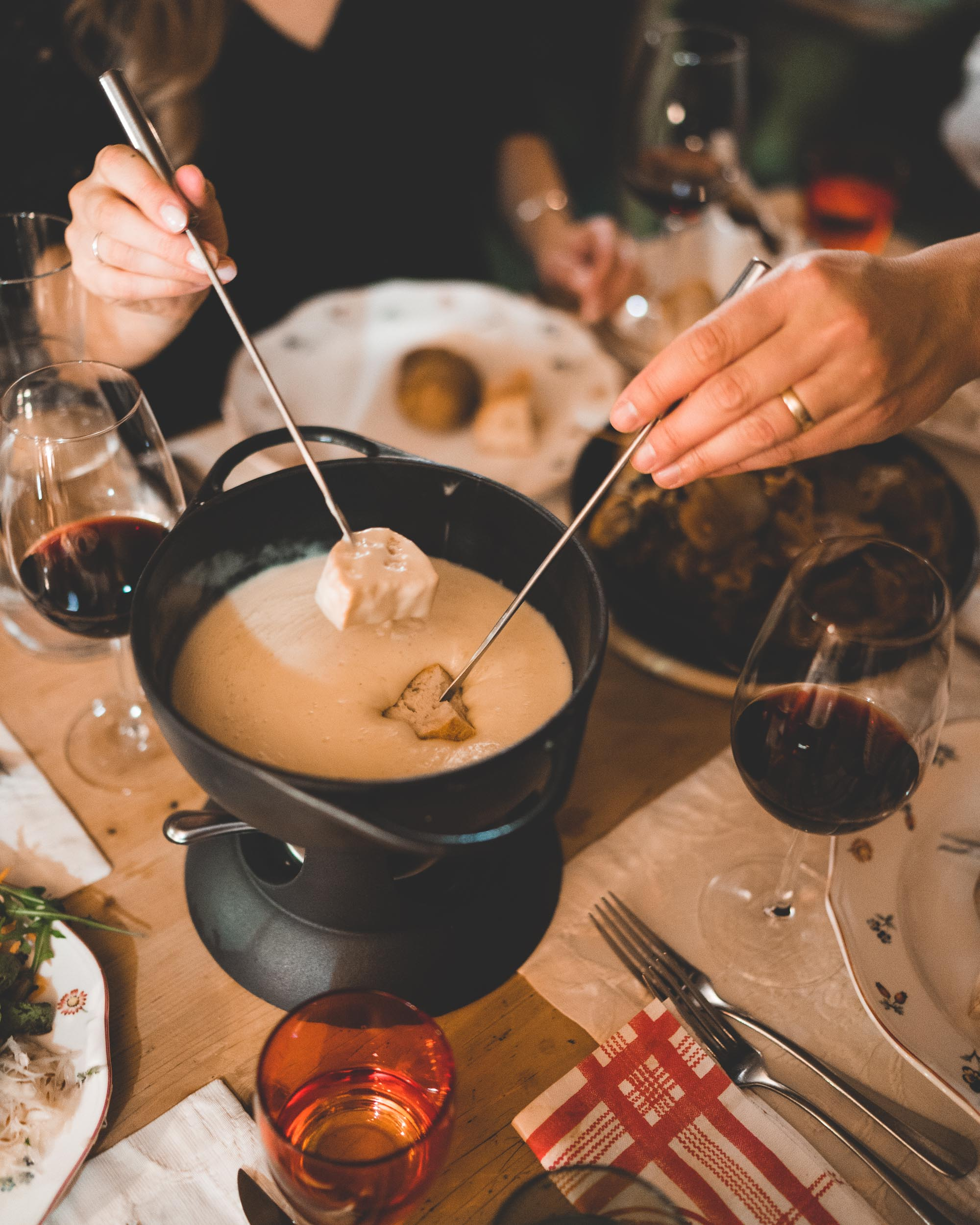 Traditional cheese fondue in Lech Austria Ski Town
