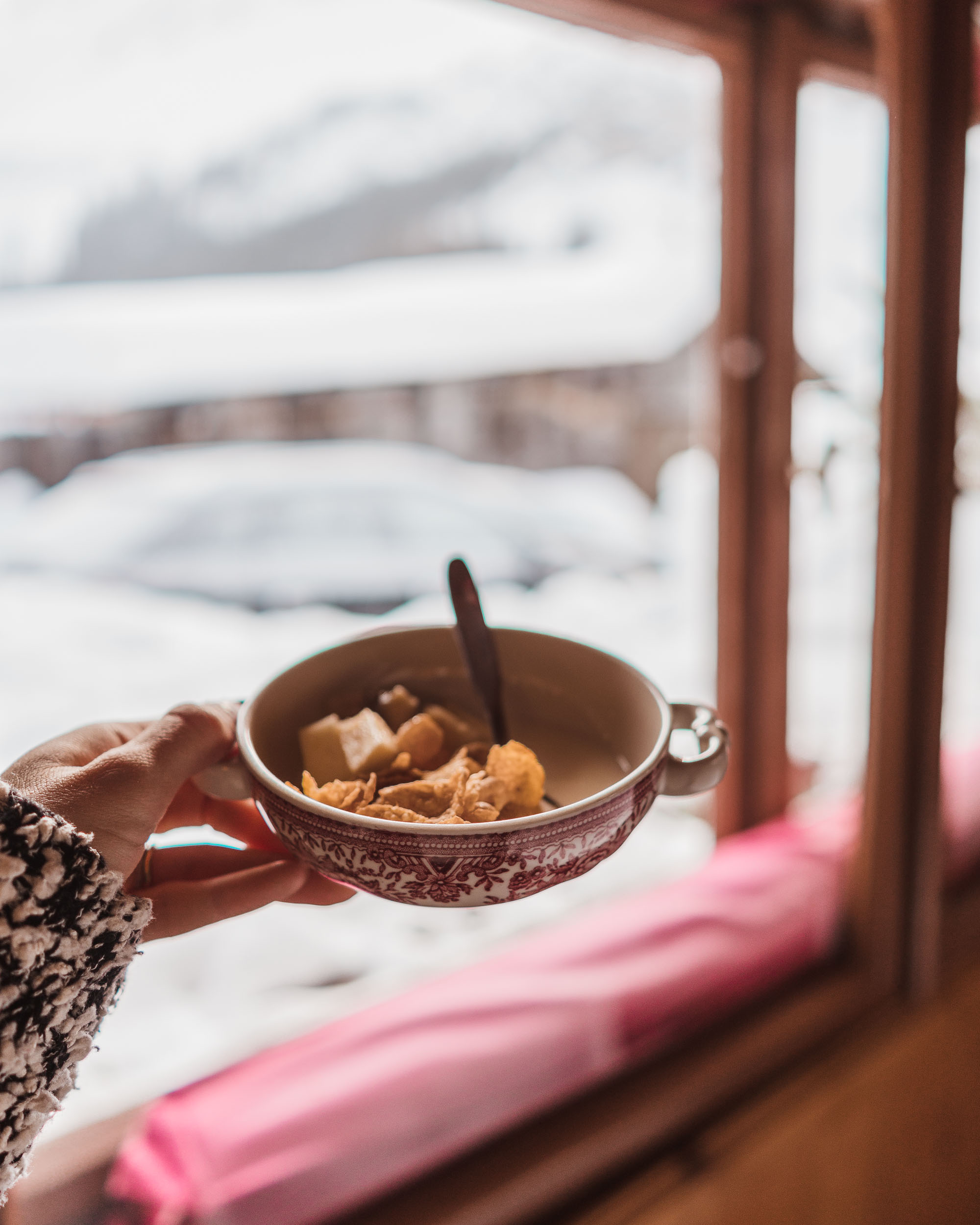 Breakfast from our guesthouse in Lech Austria ski town