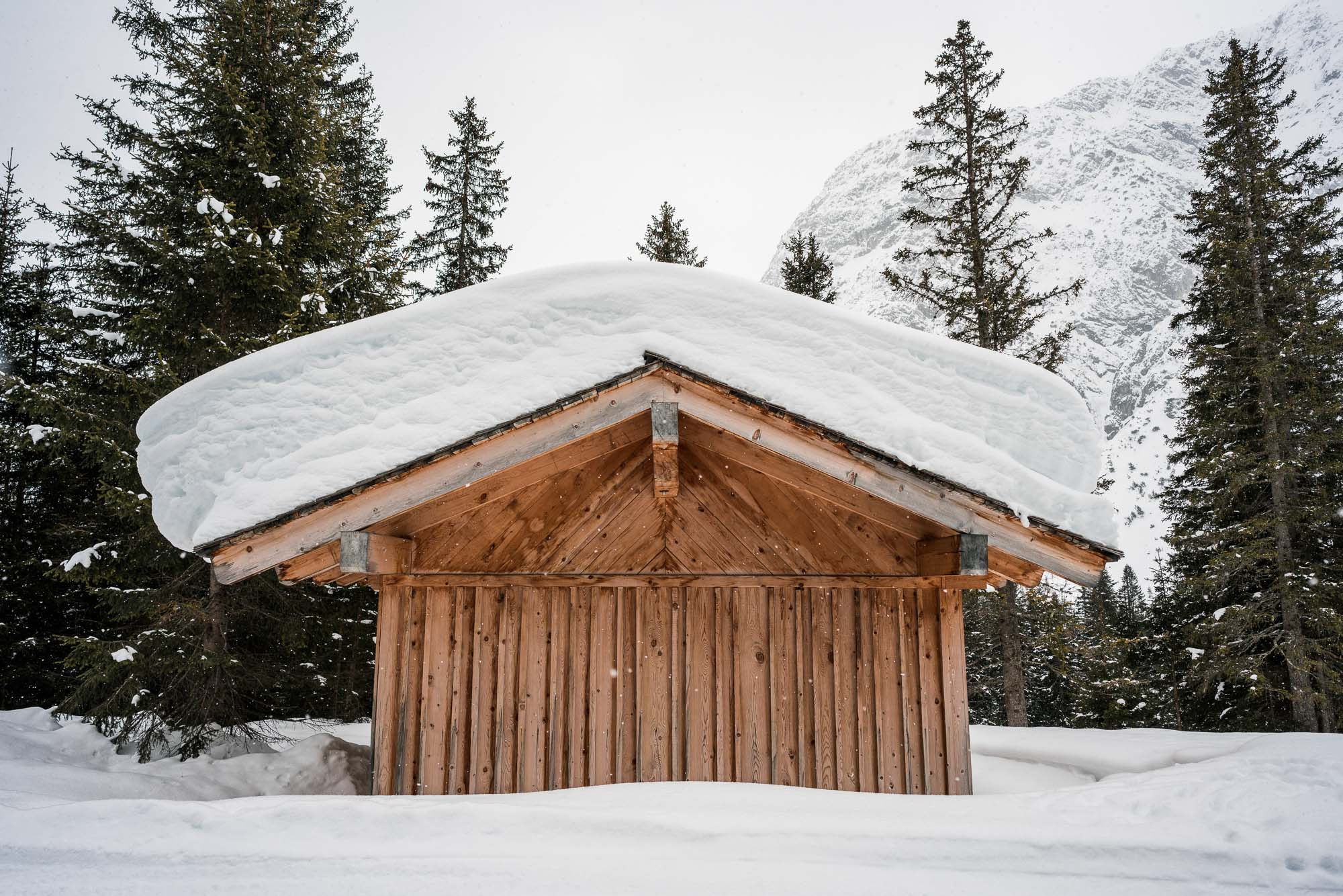 Snow covered cabins in Lech Austria Ski Town