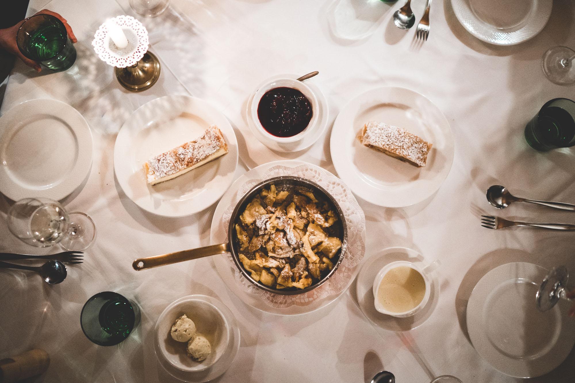 Austrian desserts at dinner in Lech Austria