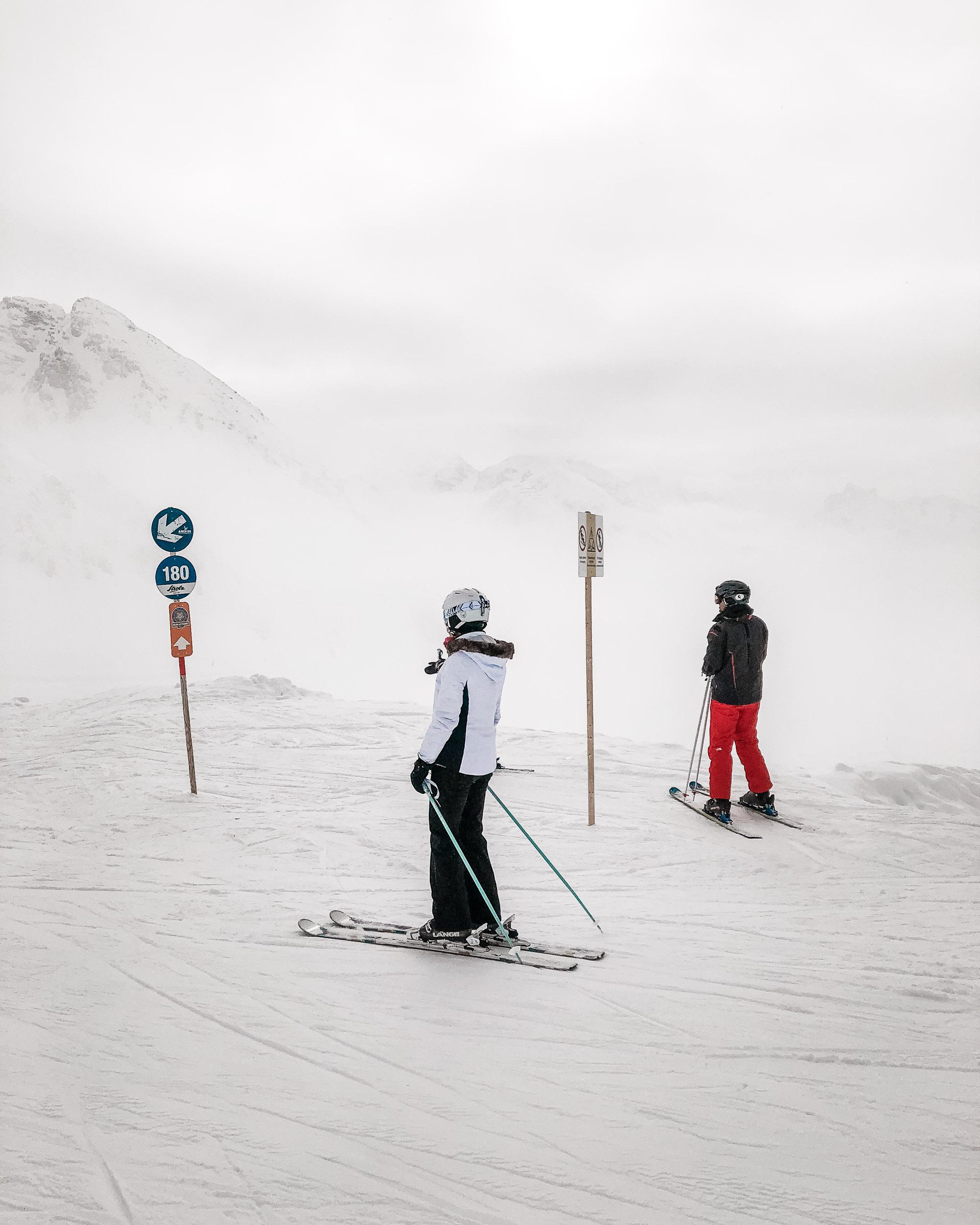 Skiiers in Lech Austria in Europe