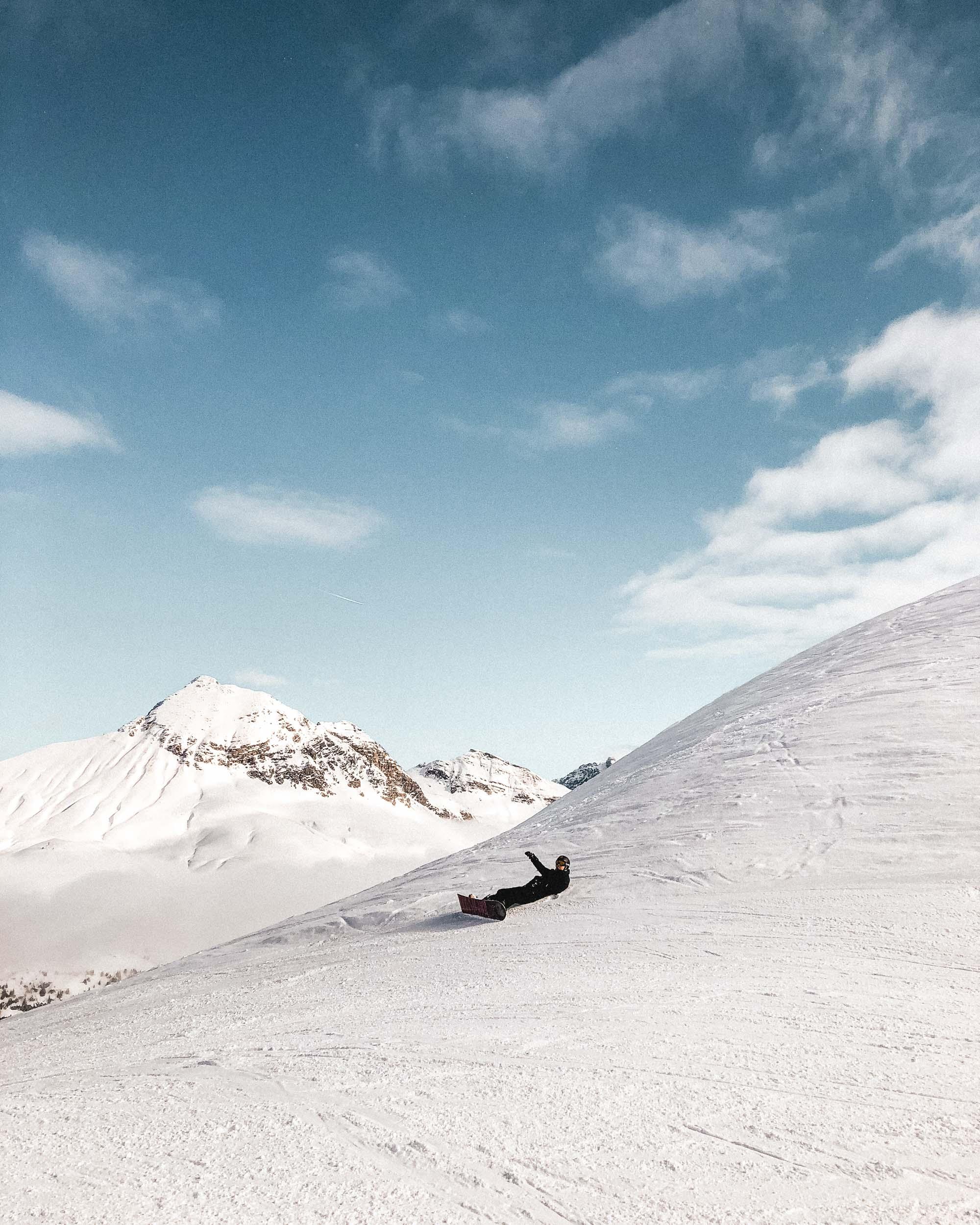Snowboarding in Lech Austria in Europe
