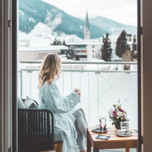 Travel blogger Selena Taylor in Davos Switzerland Swiss Alps Ski Town