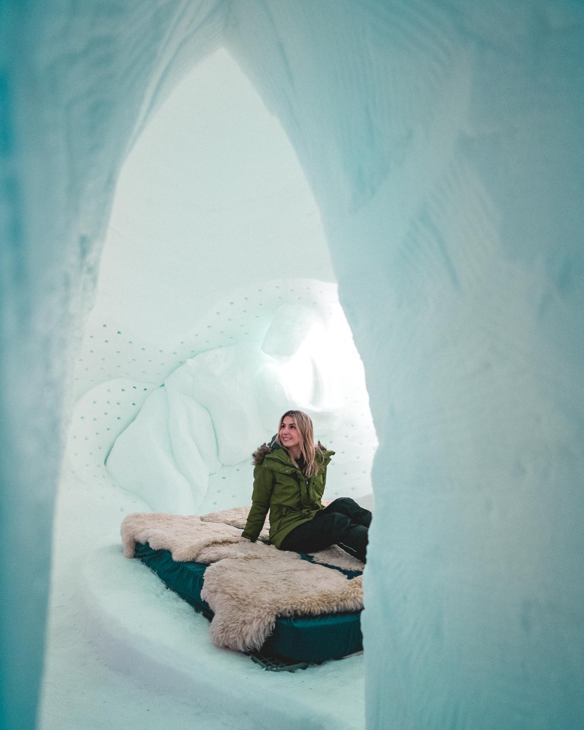 Travel blogger Selena Taylor in Davos Switzerland Ice Hotel Swiss Alps