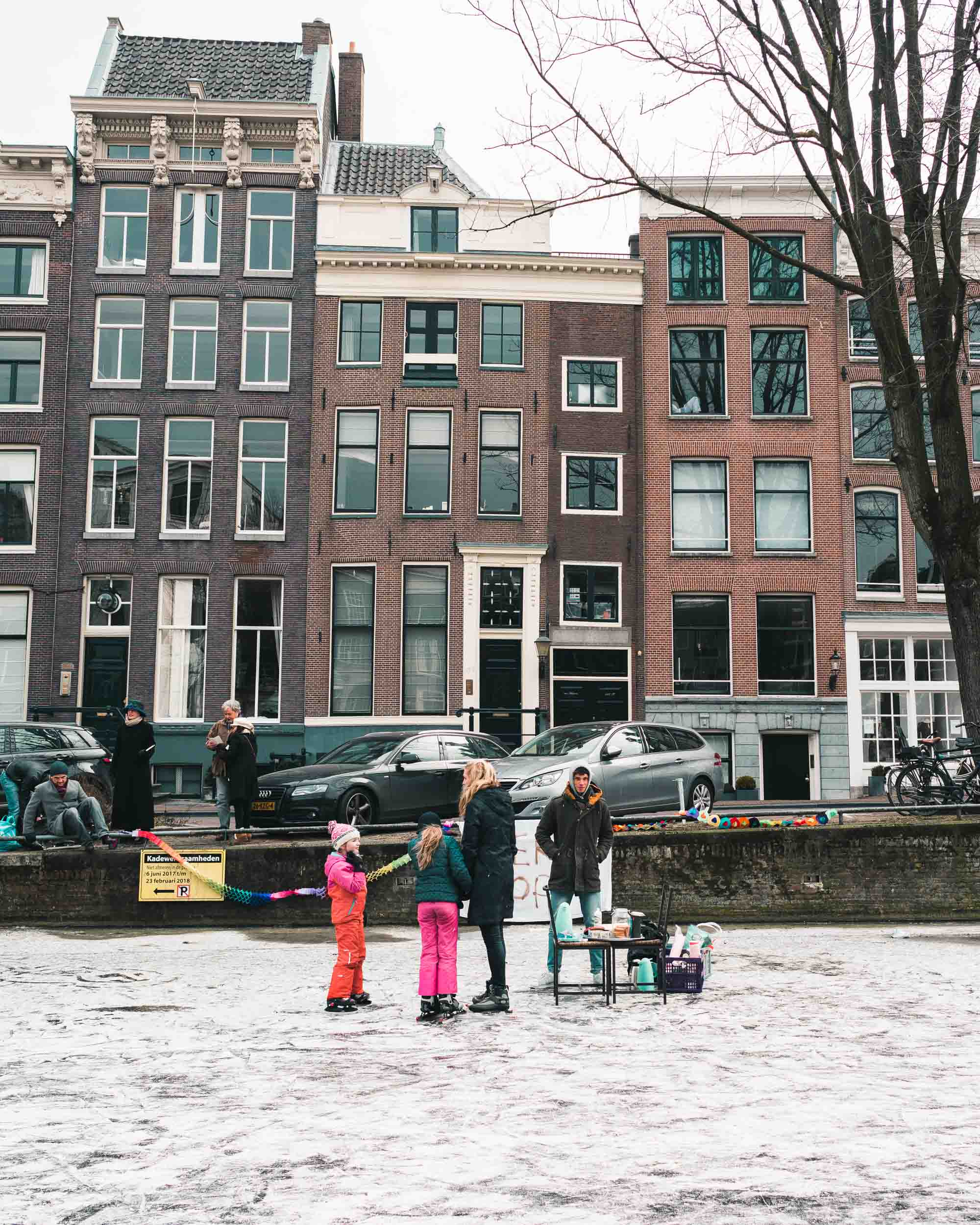 Selling soup and hot chocolate on the frozen canals in amsterdam the netherlands