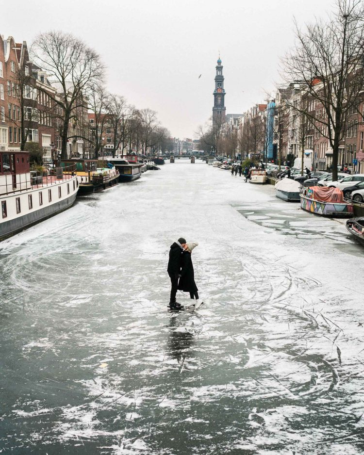 Frozen Canals in Amsterdam, The Netherlands