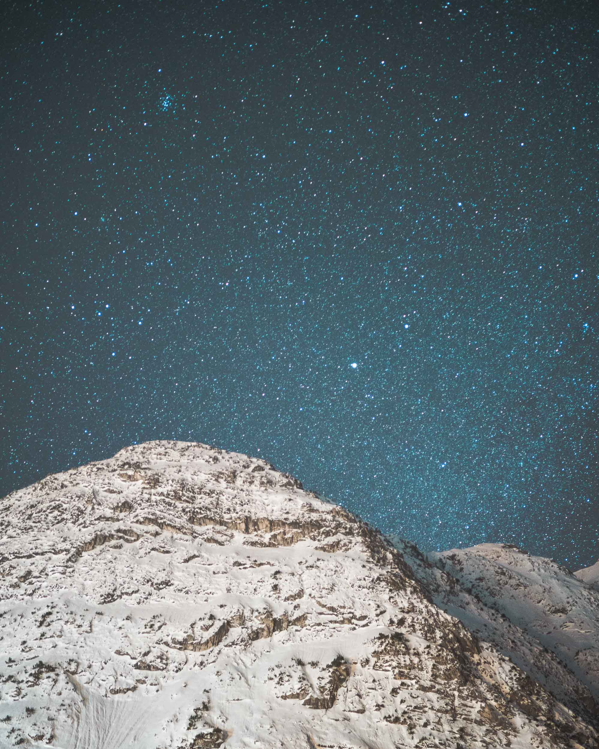 Stars and mountains long exposure in Lech Austria