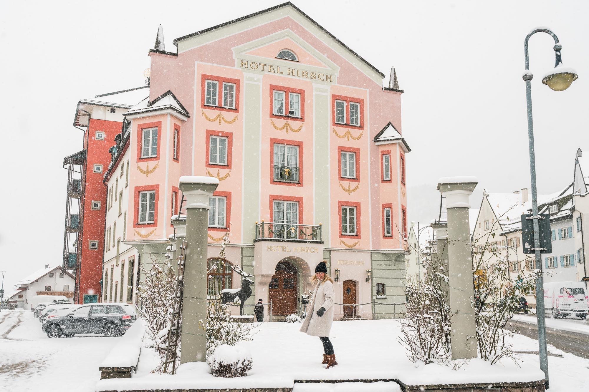 Hotel hirsch art nouveau pink hotel in downtown Fussen near Neuschwanstein Castle in Bavaria Germany