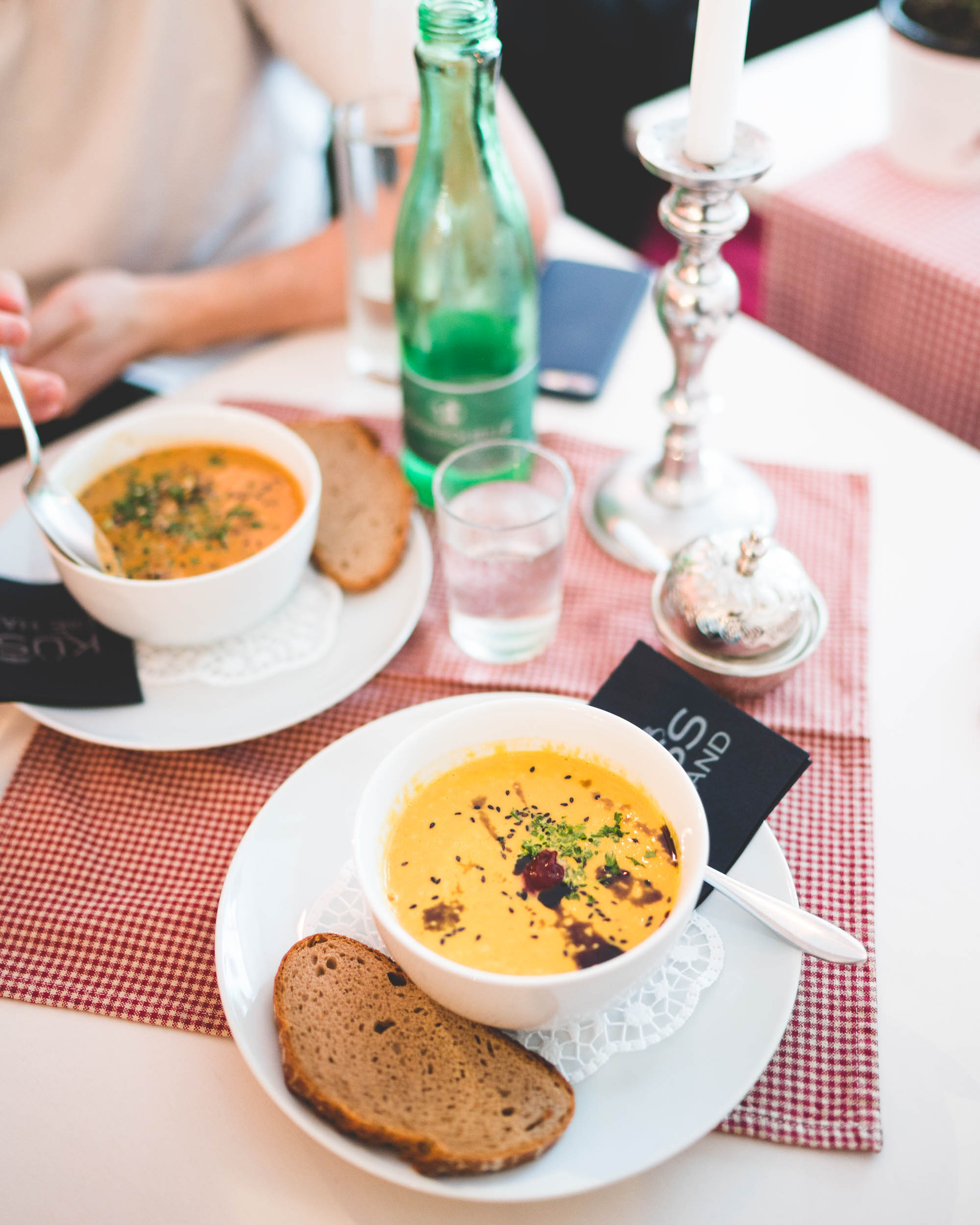 Homemade soup for lunch in the pastel town of Fussen nearby Neuschwanstein Castle in Germany