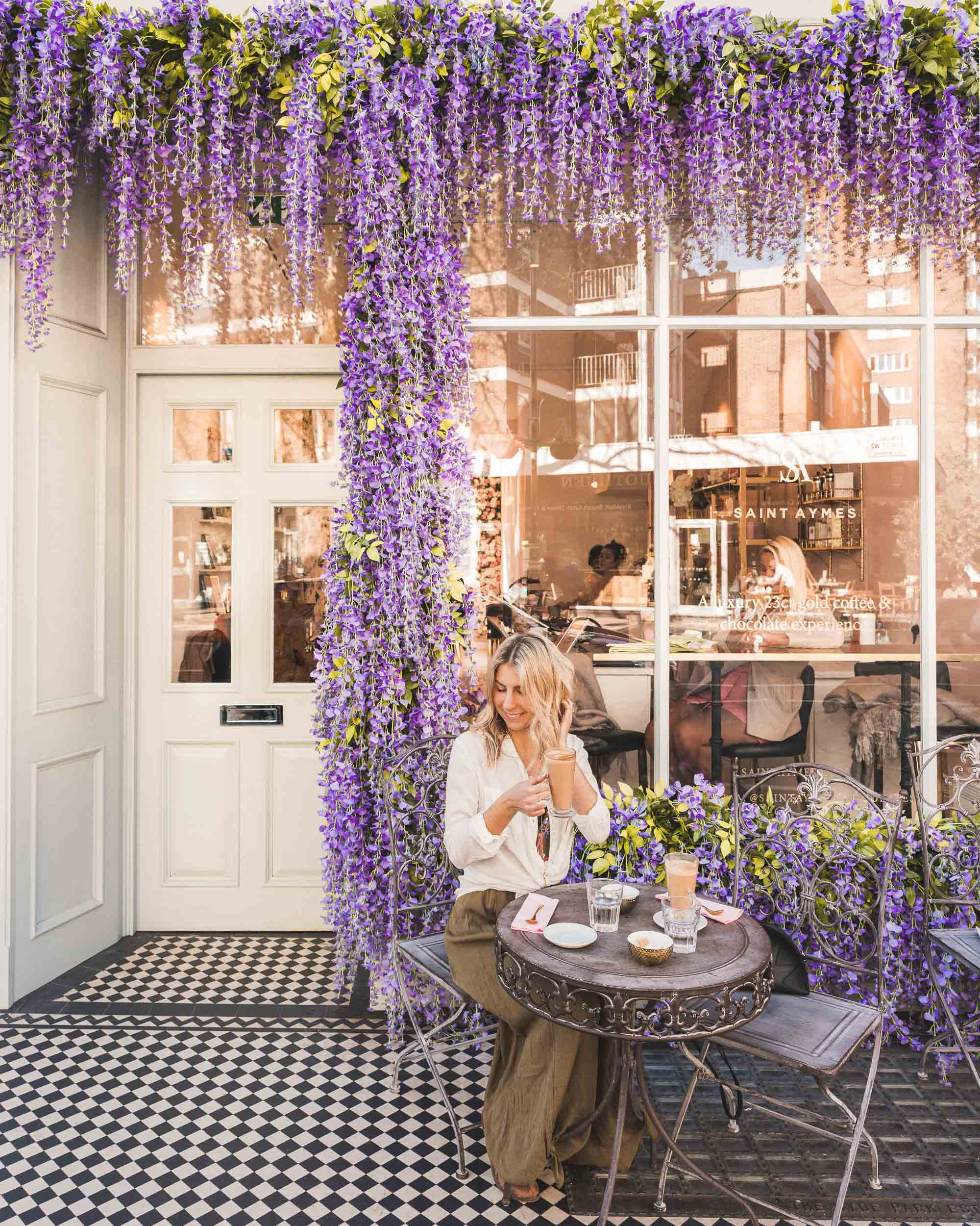 Saint aymes cafe flower front london england travel blogger Selena Taylor of Find Us Lost