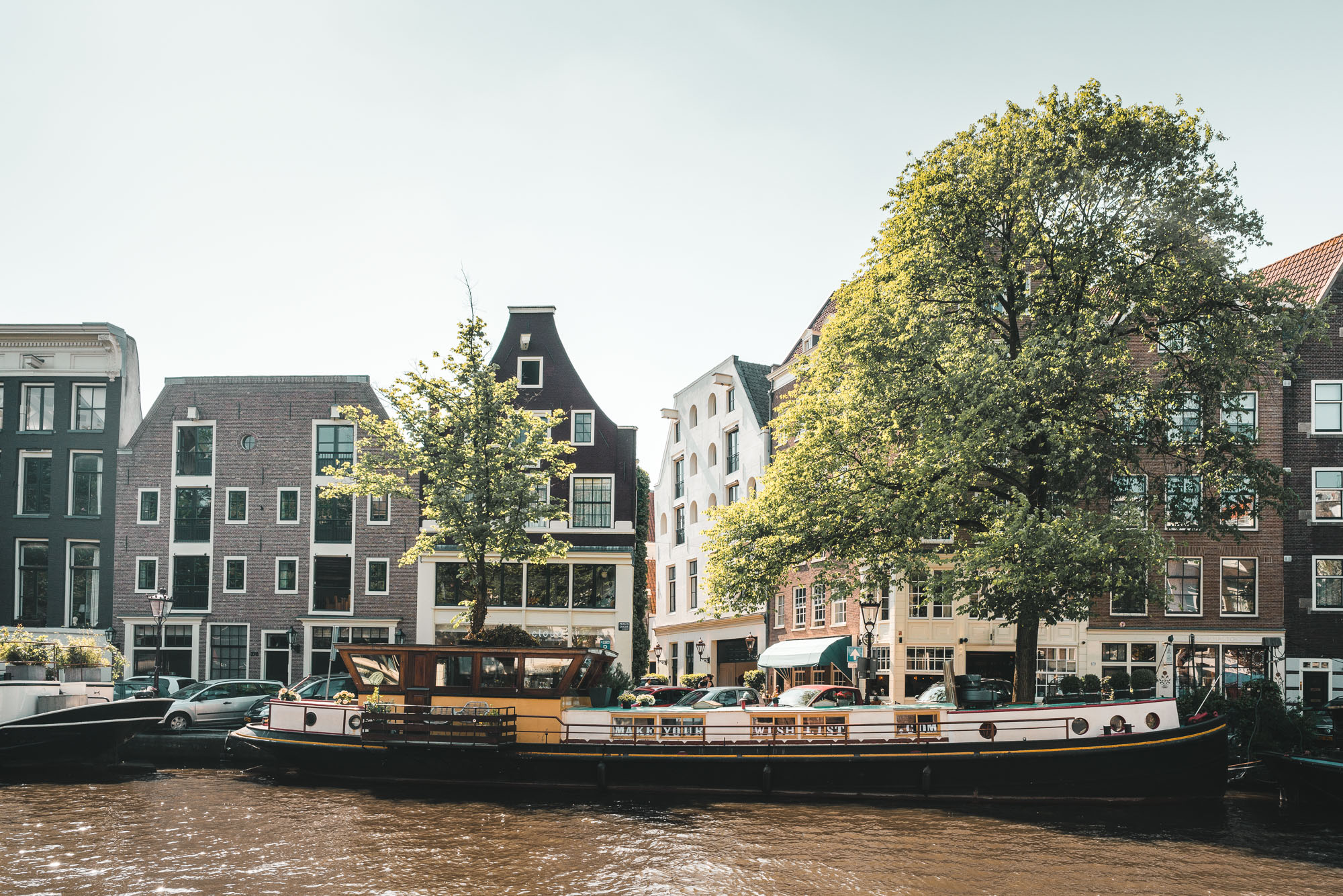 Amsterdam canals and boats in the summertime, The Netherlands