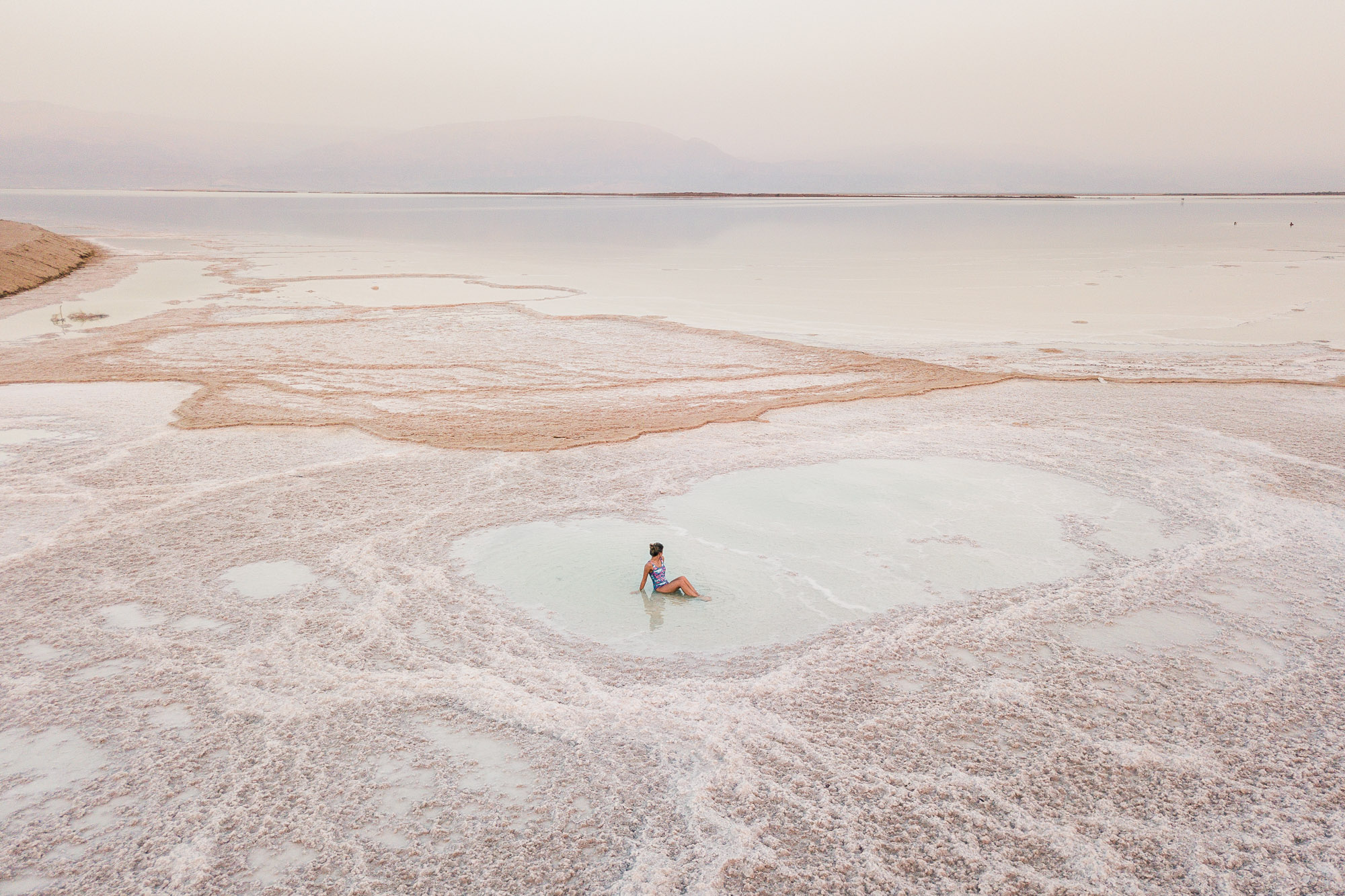Drone shot of Dead Sea Salt best beaches in Israel my bucket list item Find Us Lost