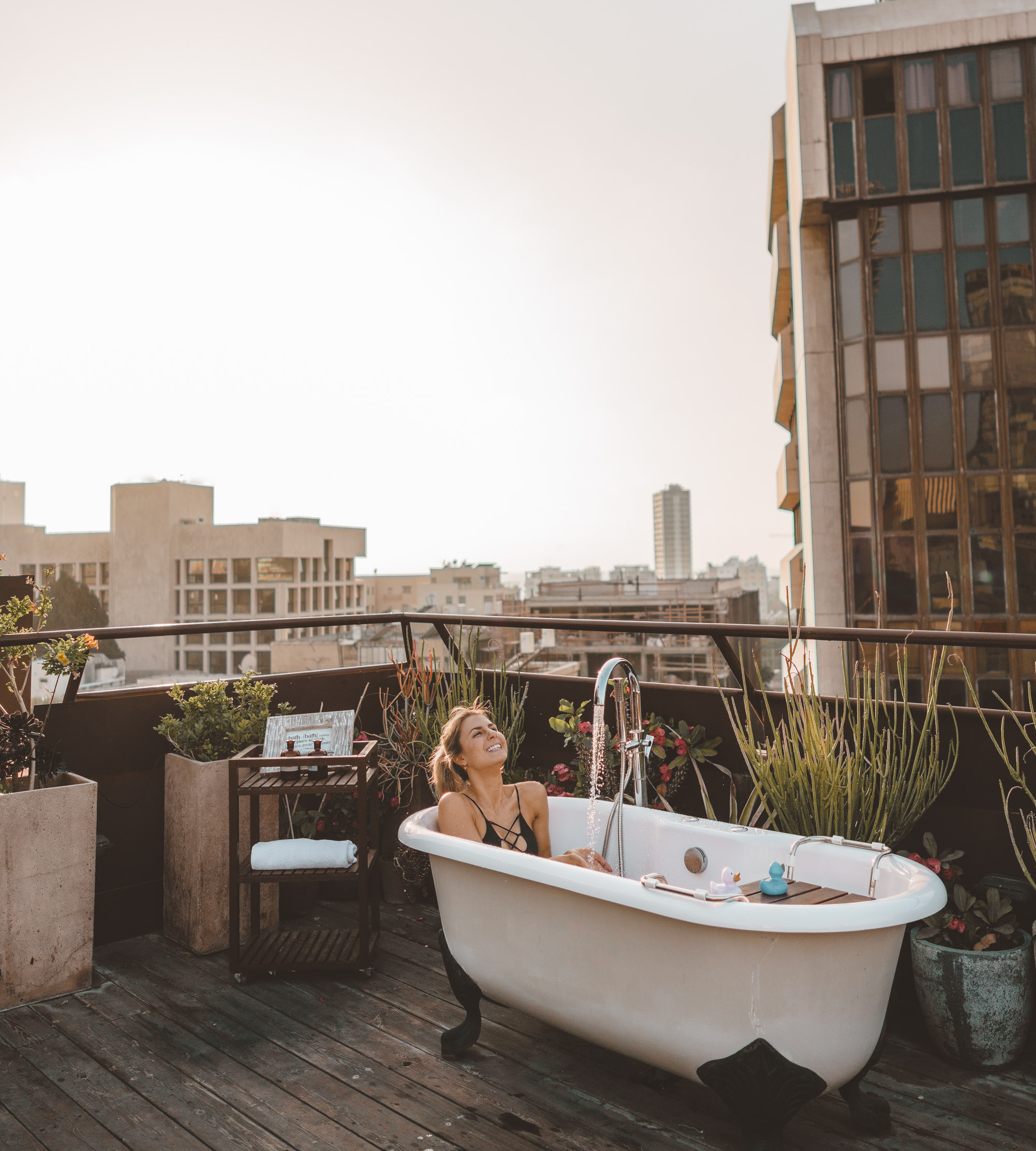 Rooftop tub at the Brown Hotel TLV in Tel Aviv Israel