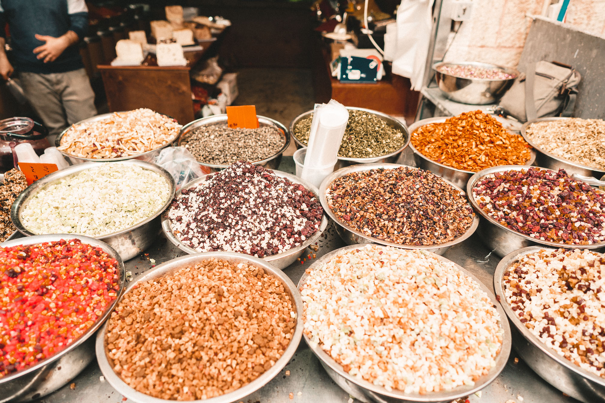 Nuts and dried fruit at Mahane Yehuda market in Jerusalem Israel