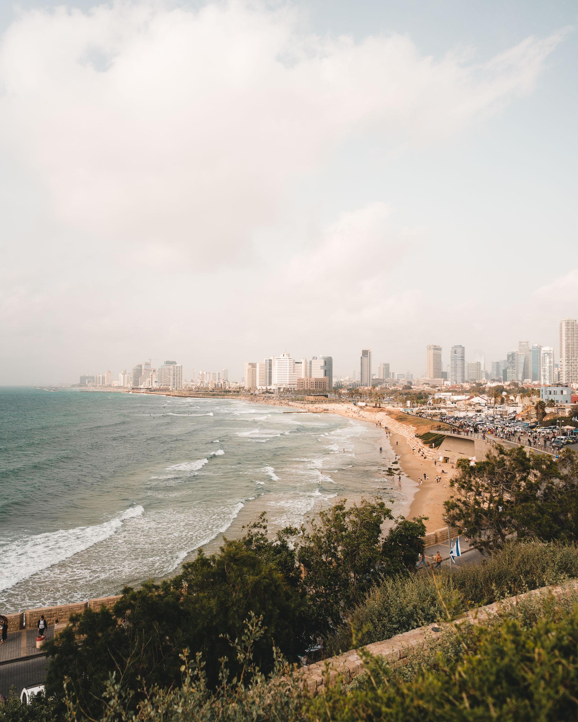 Views of Tel Aviv beach and skyline in Israel