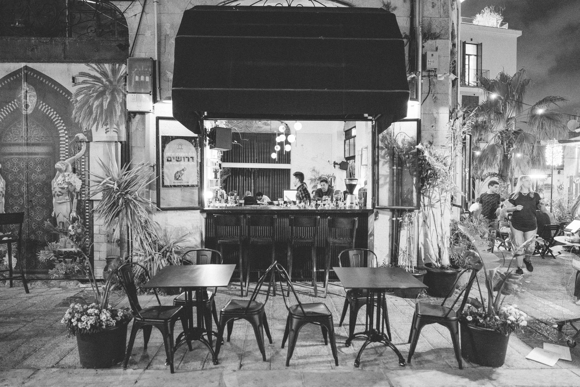 Jericho restaurant outdoor patio seating in Jaffa old town, Tel Aviv, Israel