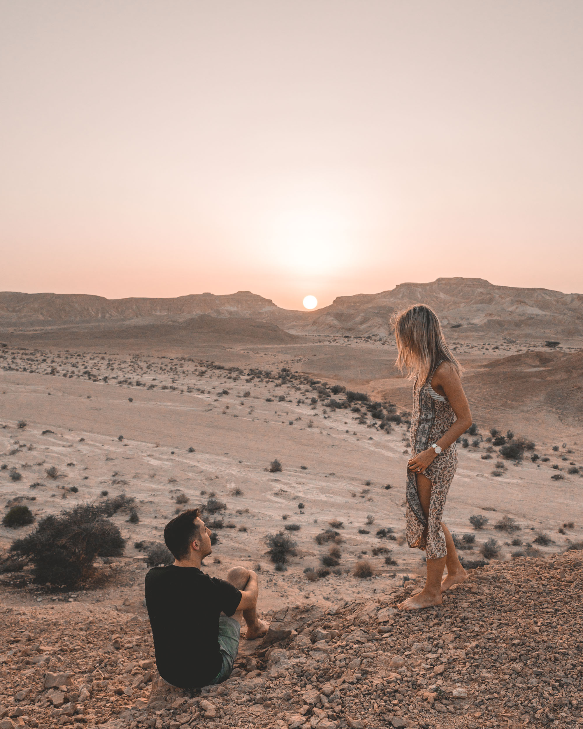 Sunset while glamping in the desert in the Negev Desert in Israel