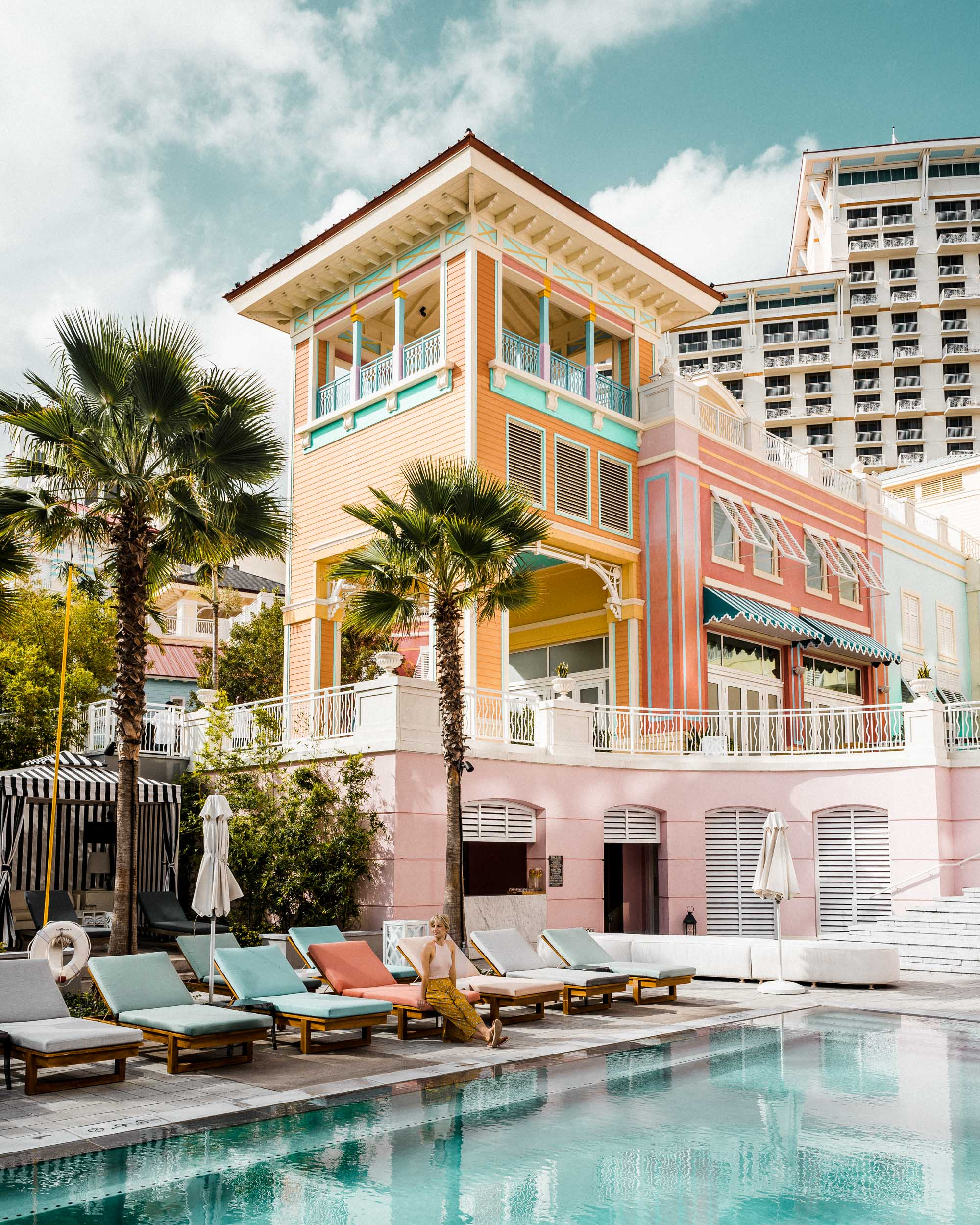Pastel buildings at the SLS baha mar hotel in Nassau Bahamas