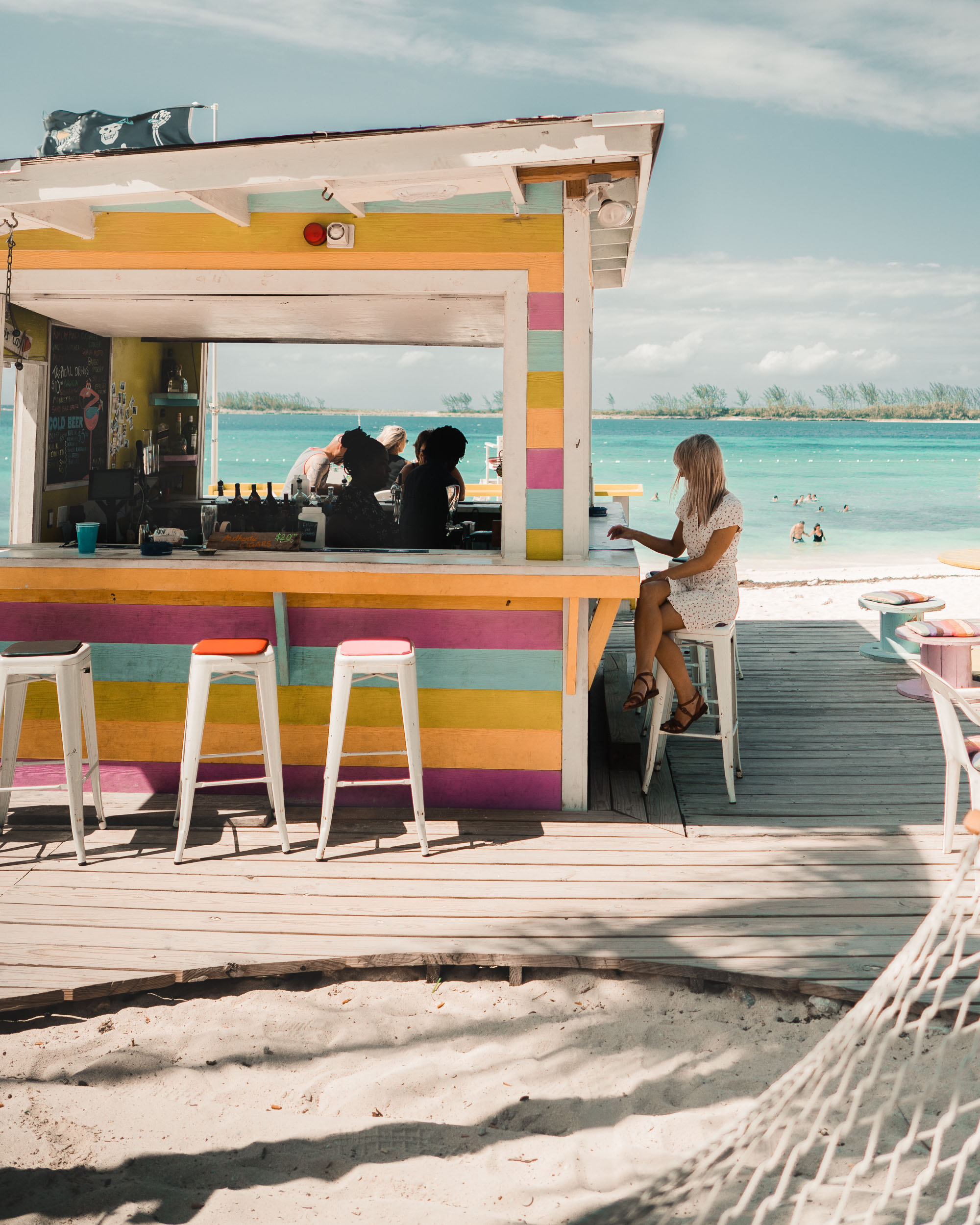 Lunch shacks on Junkanoo beach in Nassau Bahamas