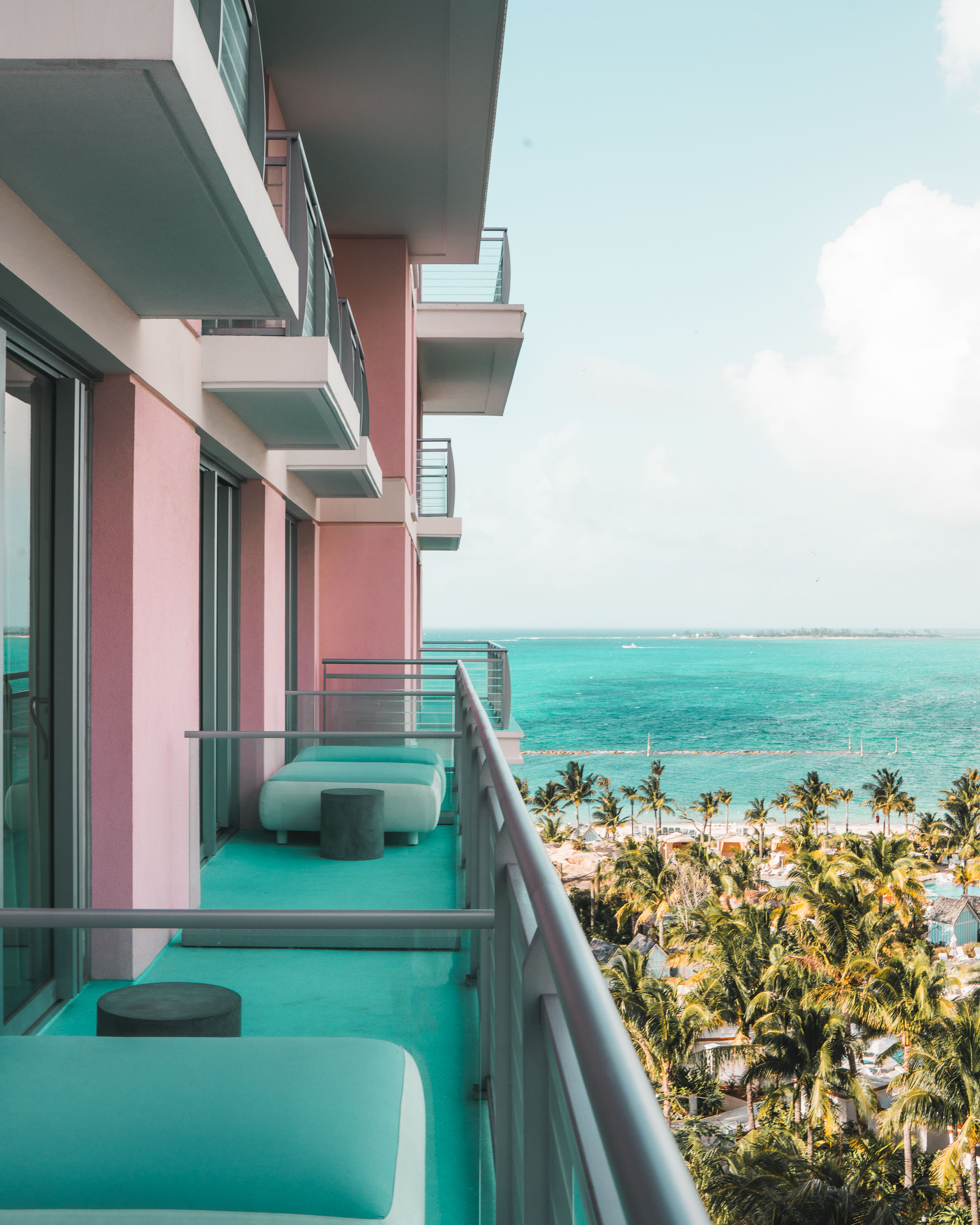Colorful balcony at the SLS Baha Mar in Nassau, Bahamas