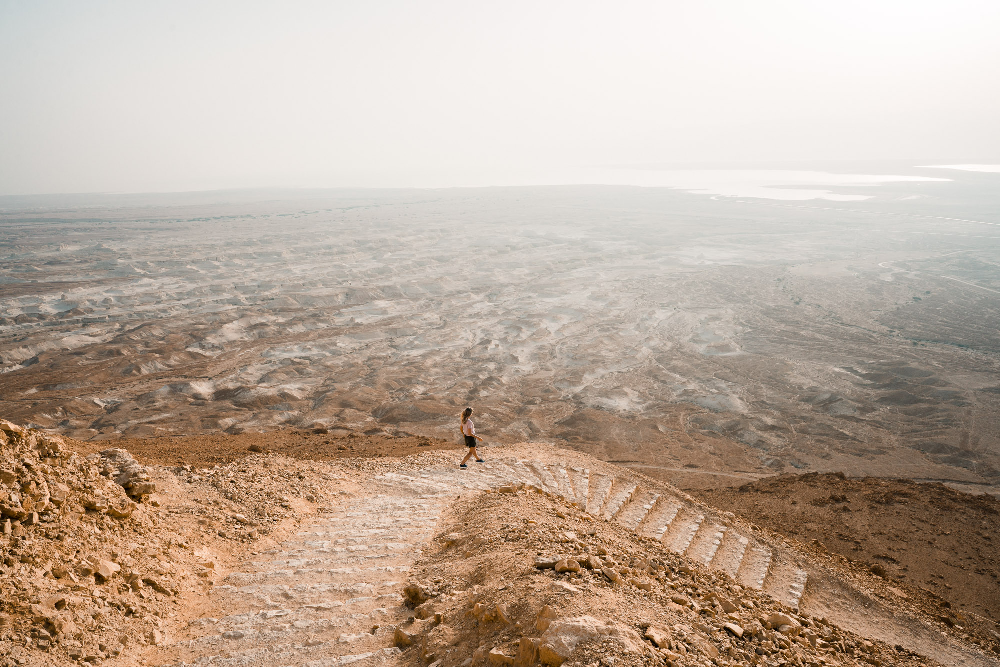 Masada at sunrise walking path down the mountain dead sea in israel find us lost