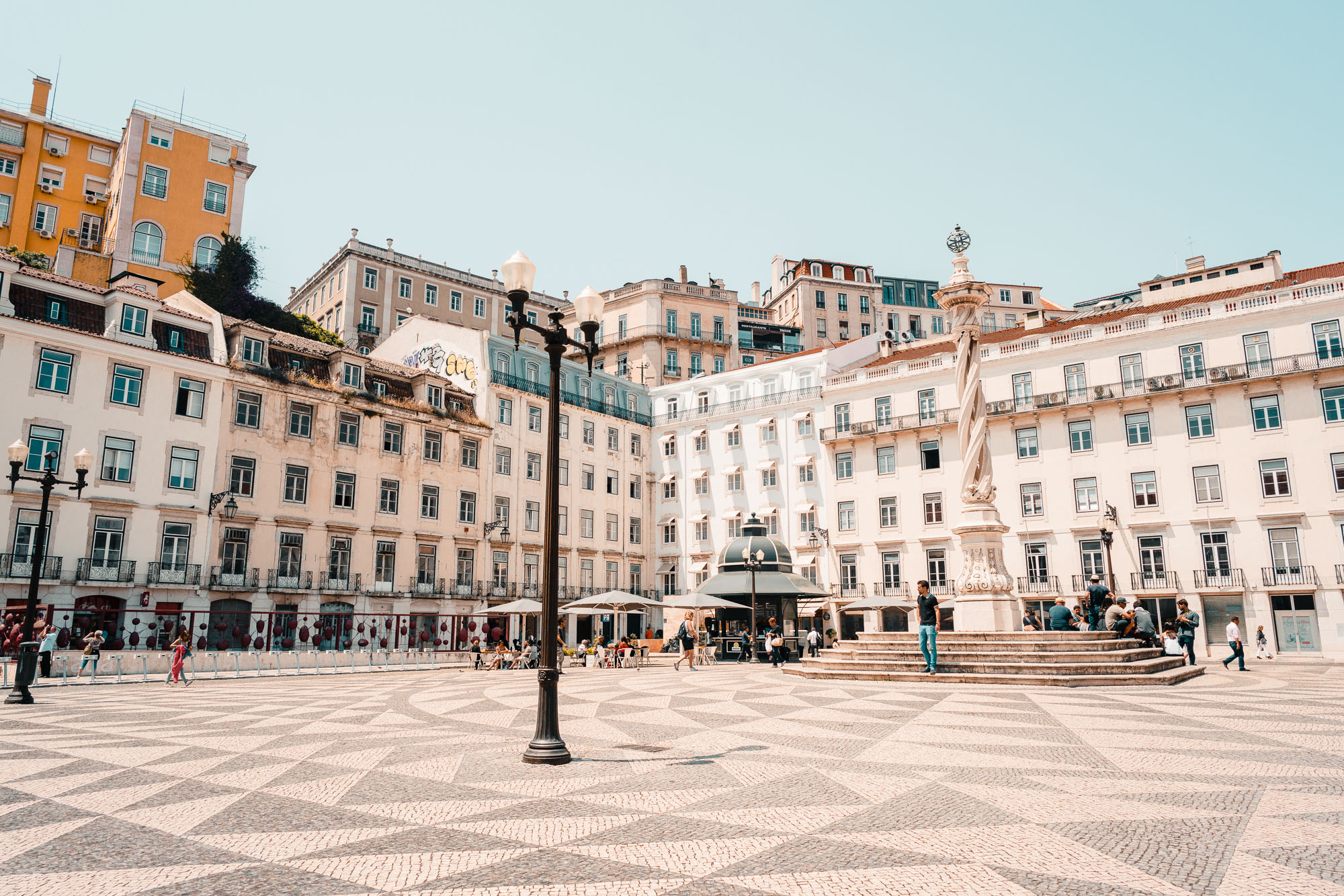 Checkered town squares of Lisbon, Portugal | Lisbon Travel Guide via Find Us Lost
