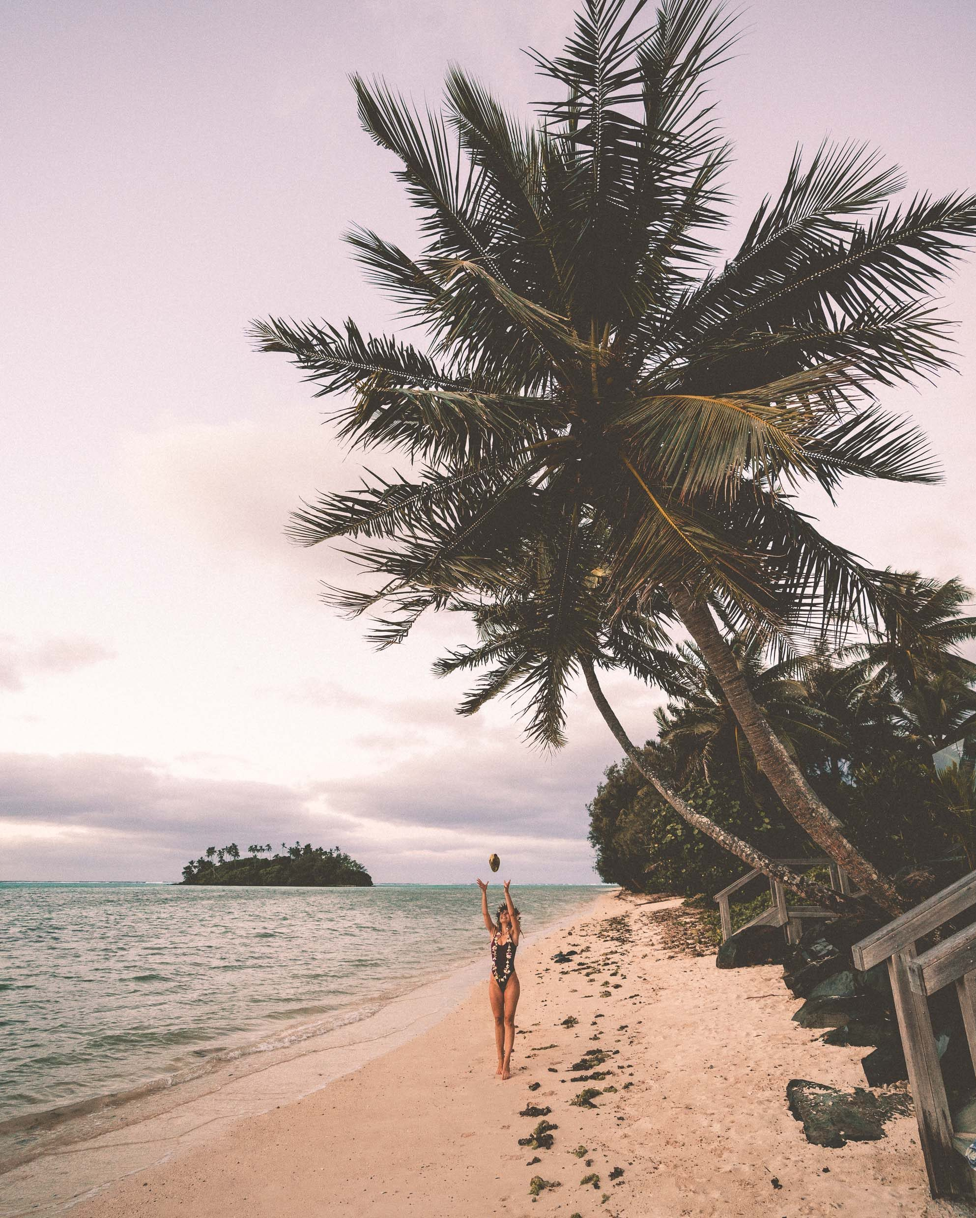 Pastel sunrise and coconuts on the beach in Rarotonga, Cook Islands