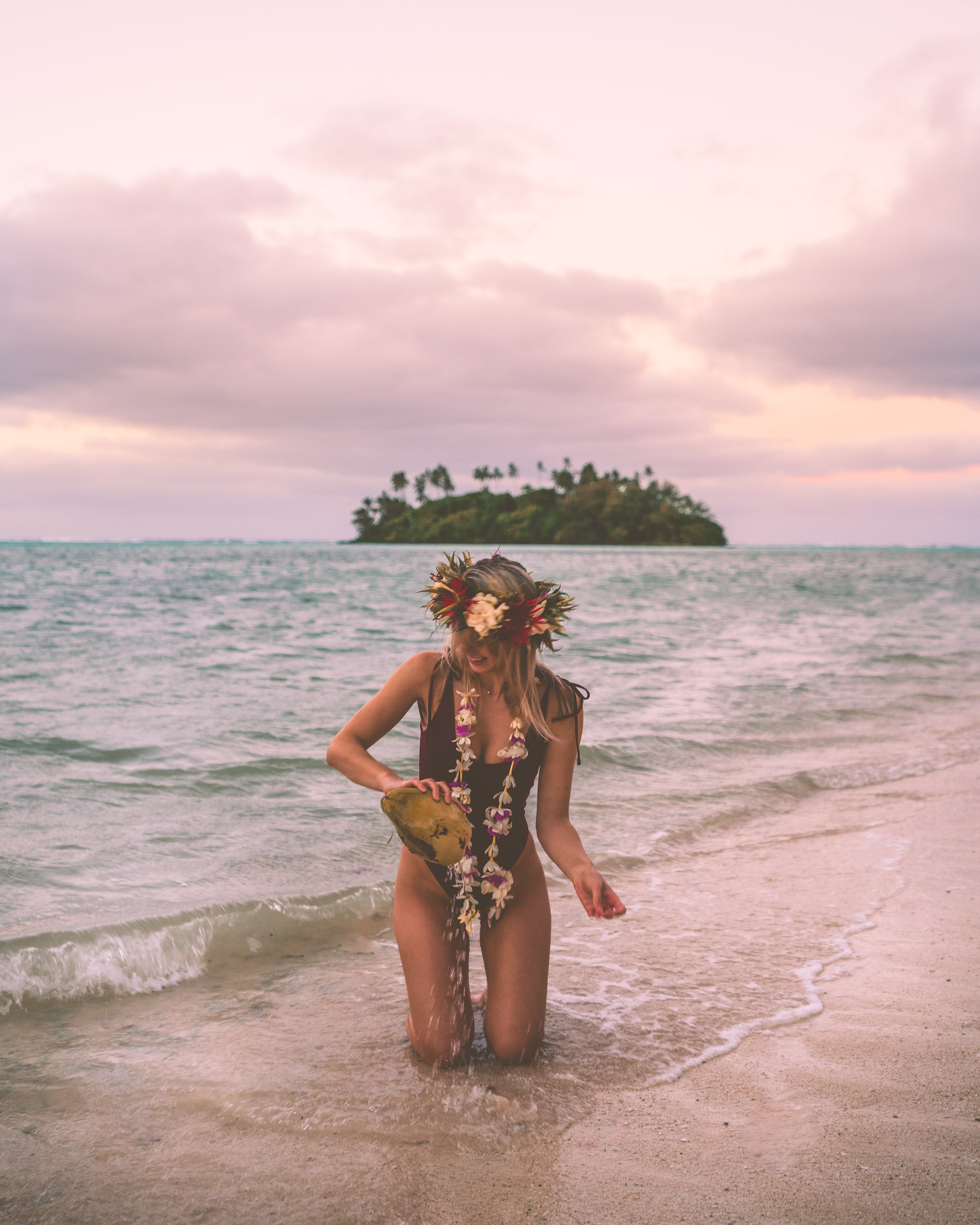 Pastel sunrise on the beach in Rarotonga, Cook Islands