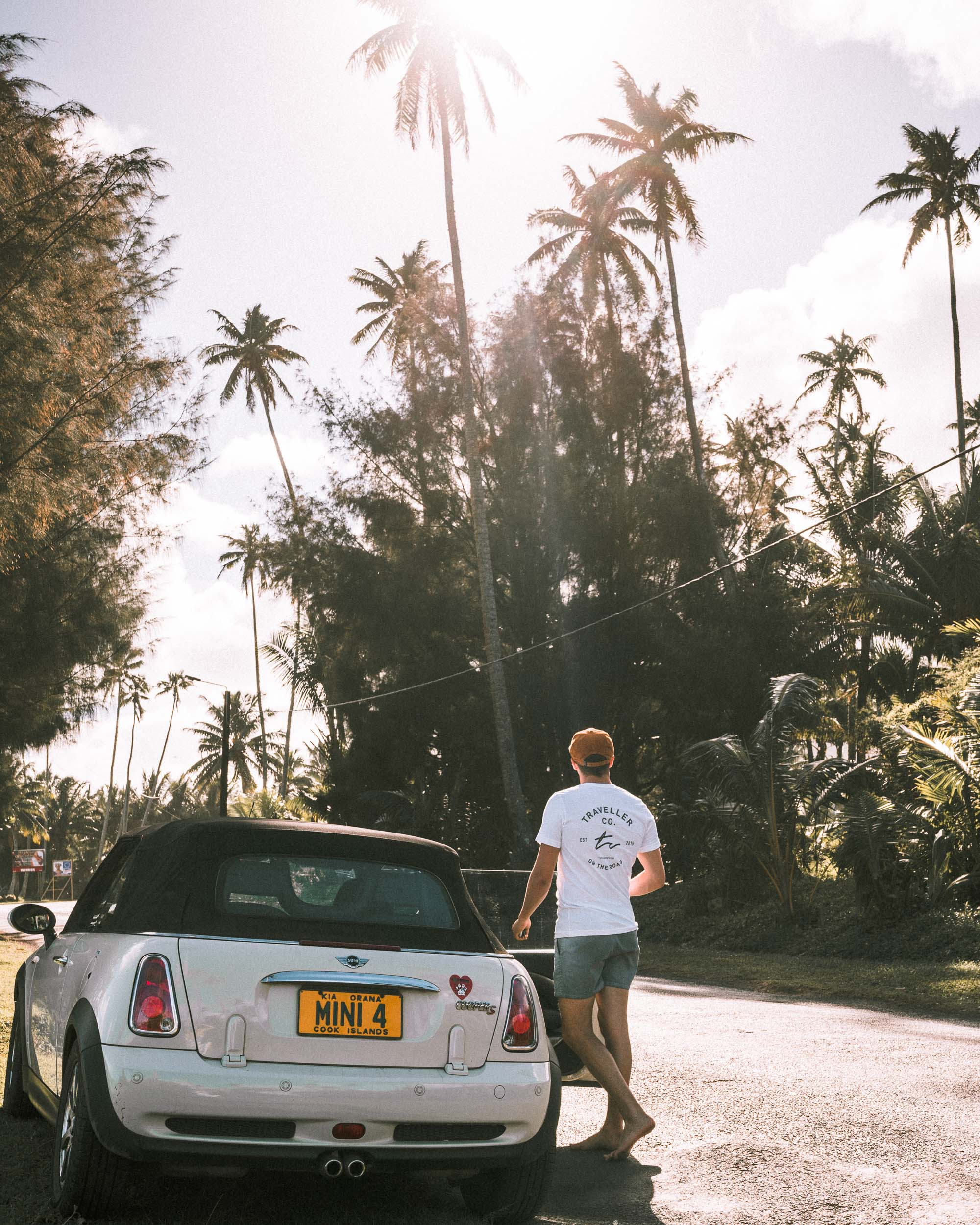 Our mini cooper on the main road of Rarotonga, Cook Islands
