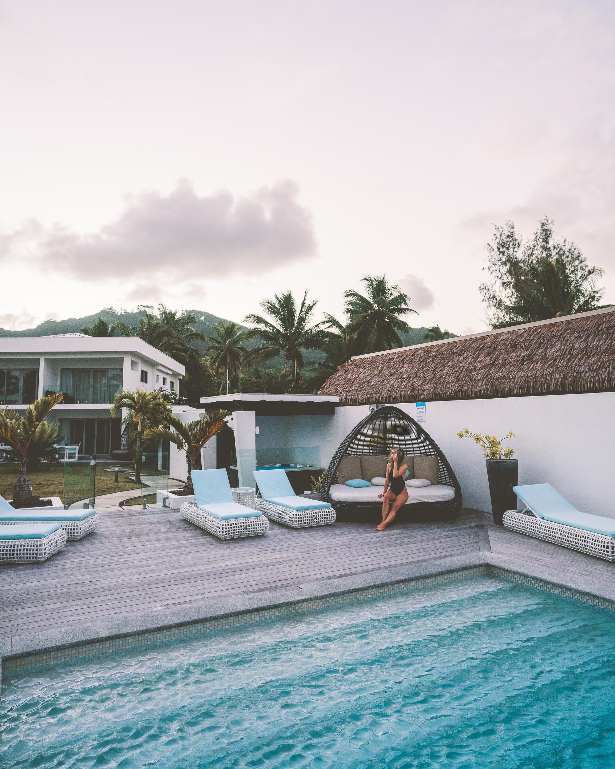 The pool at Crystal Blue Lagoon villas in Rarotonga, Cook Islands