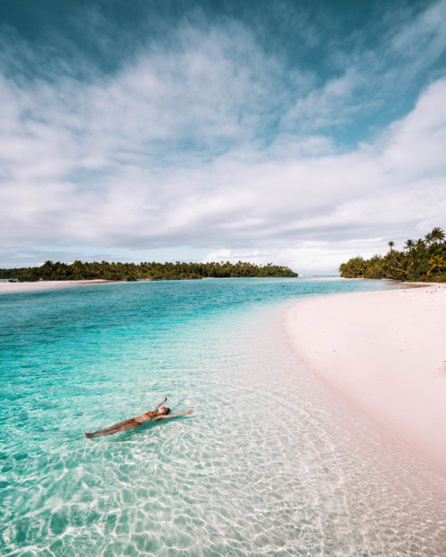 Floating in the most clear blue water at One Foot Island in the Cook Islands