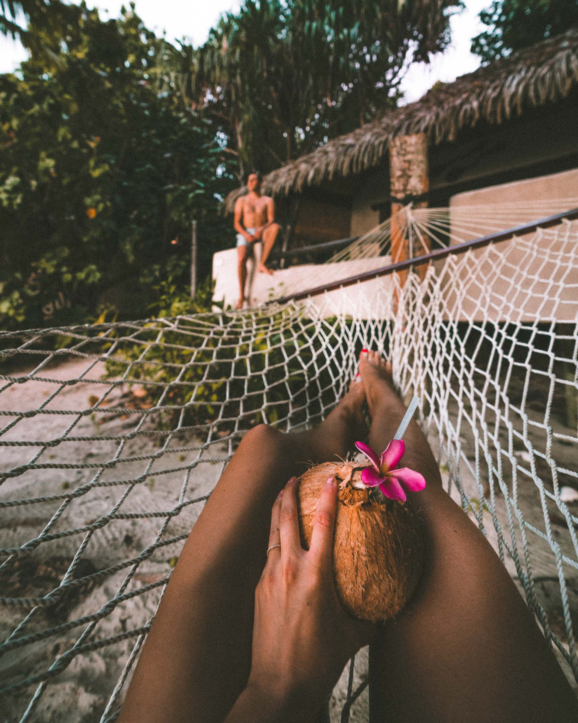 Hammock views from our jungle bungalow at Pacific Resort Aitutaki, Cook Islands