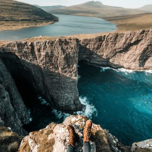 View of Lake Sorvagsvatn cliff lake hanging water optical illusion in the faroe islands via @finduslost