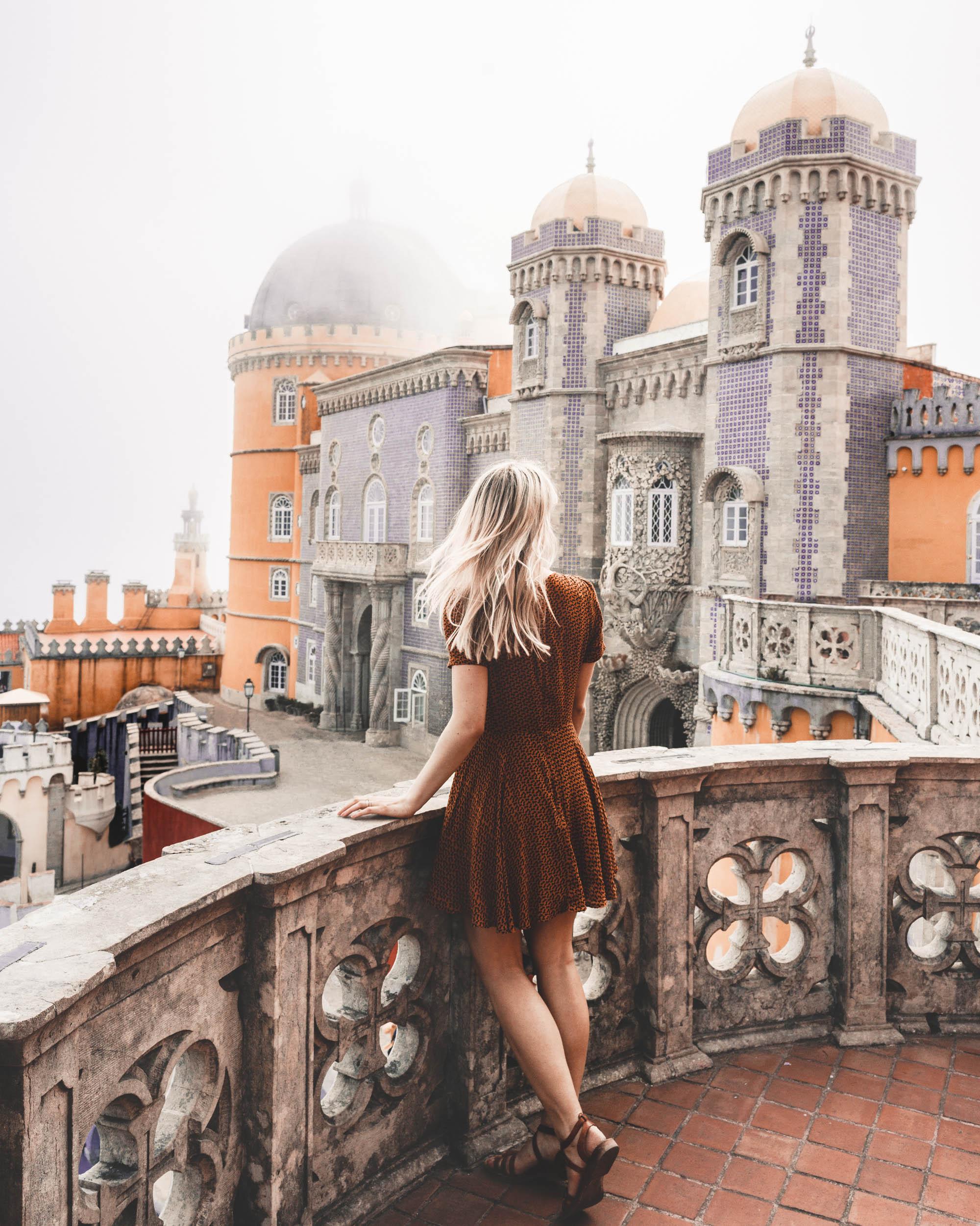 Pena Palace castle photo spot in Sintra Portugal via @finduslost