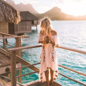 Sunset on our balcony at the four seasons bora bora in Tahiti