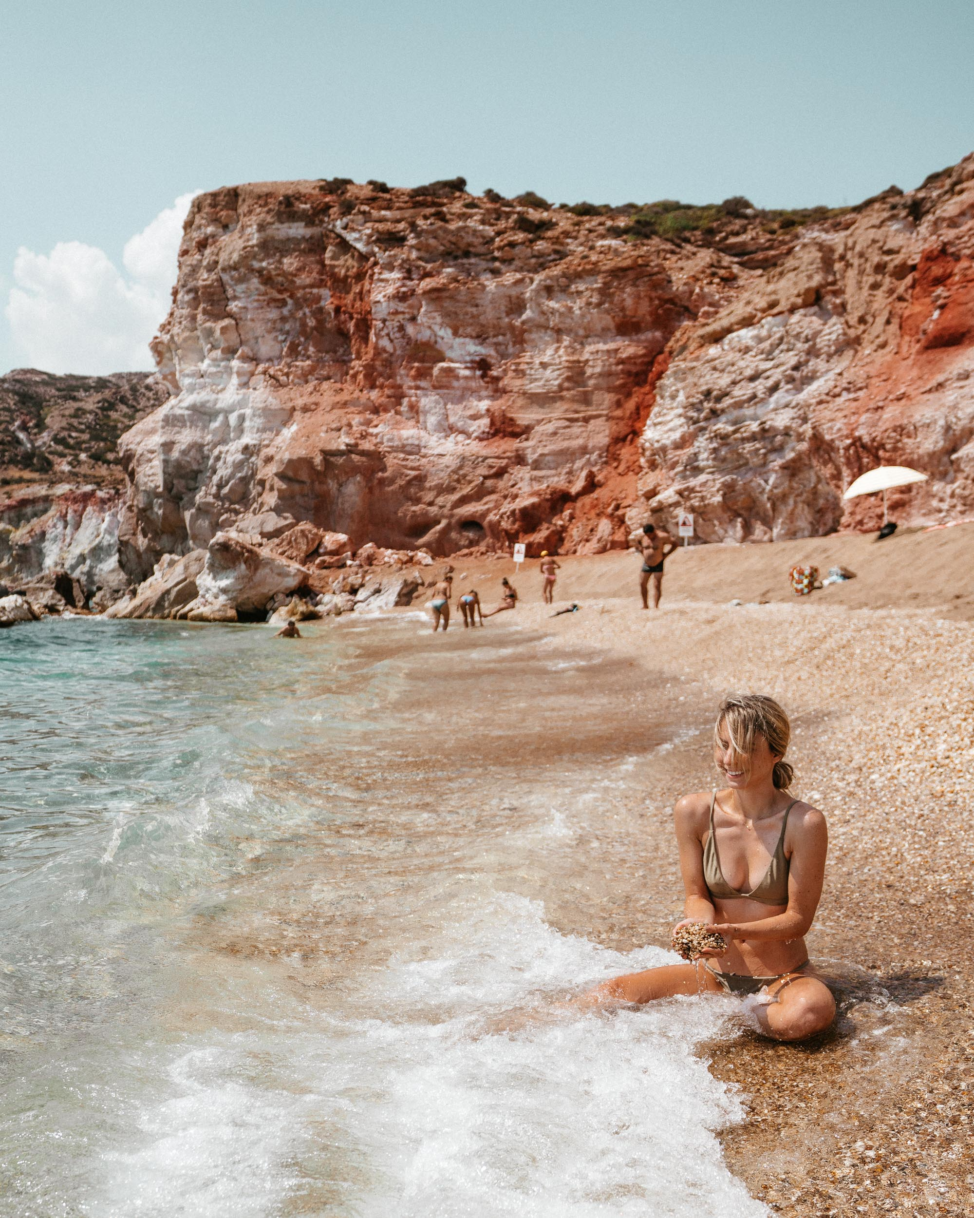 Paliochori red beach in Milos, Greece via @finduslost