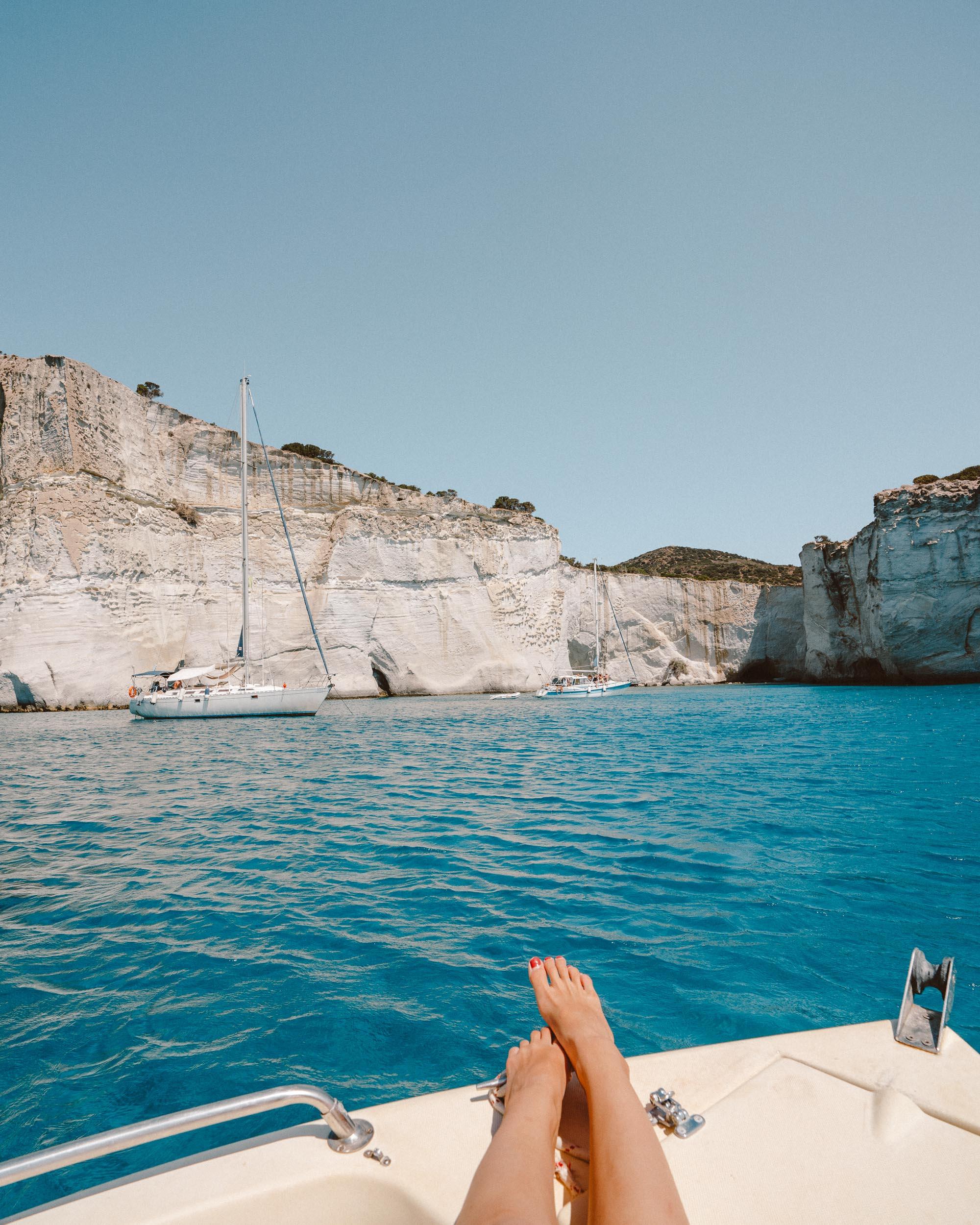 Boat day visiting Kleftiko in Milos Greece via @finduslost