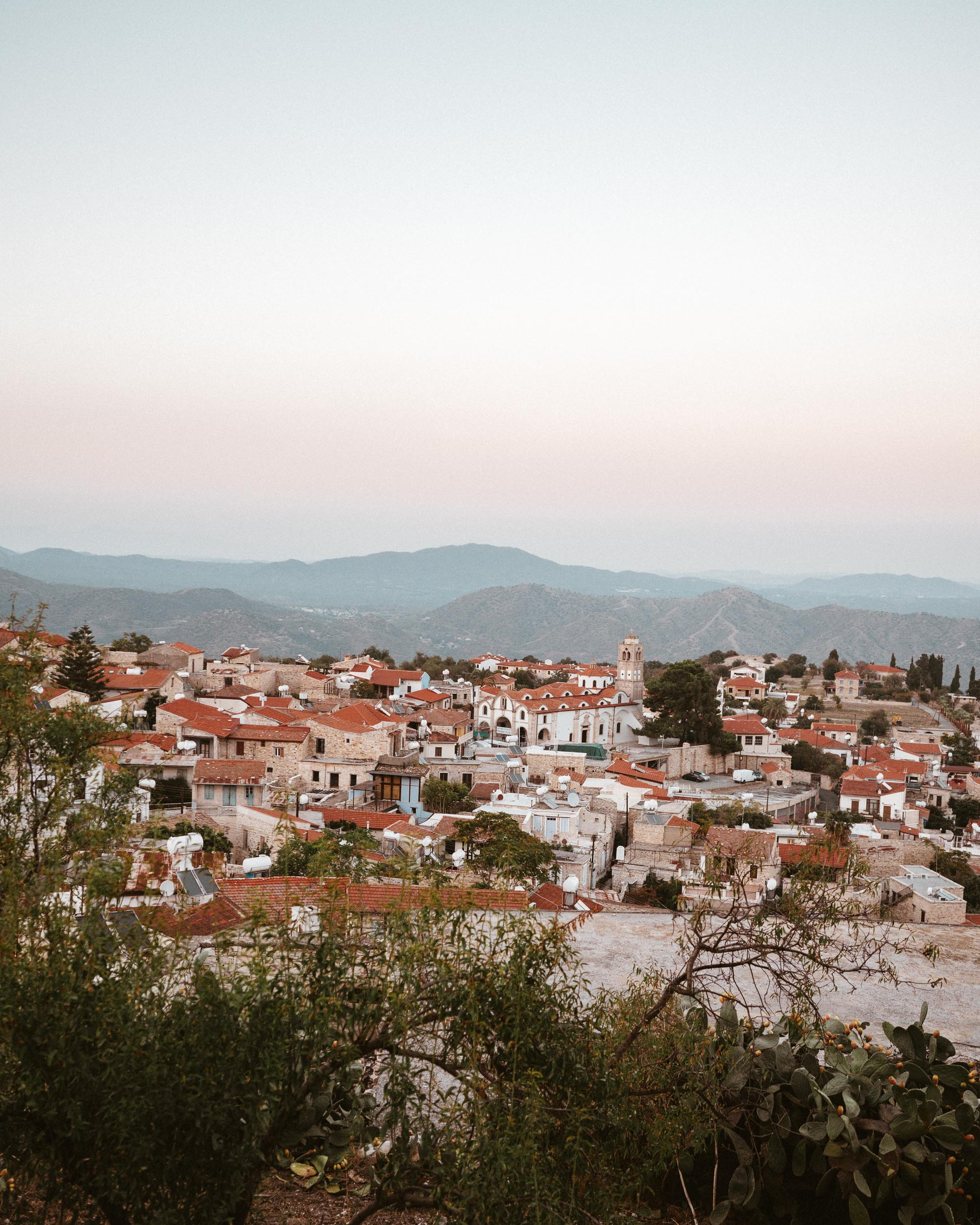 Sunset over omodos mountain town in Cyprus via @finduslost